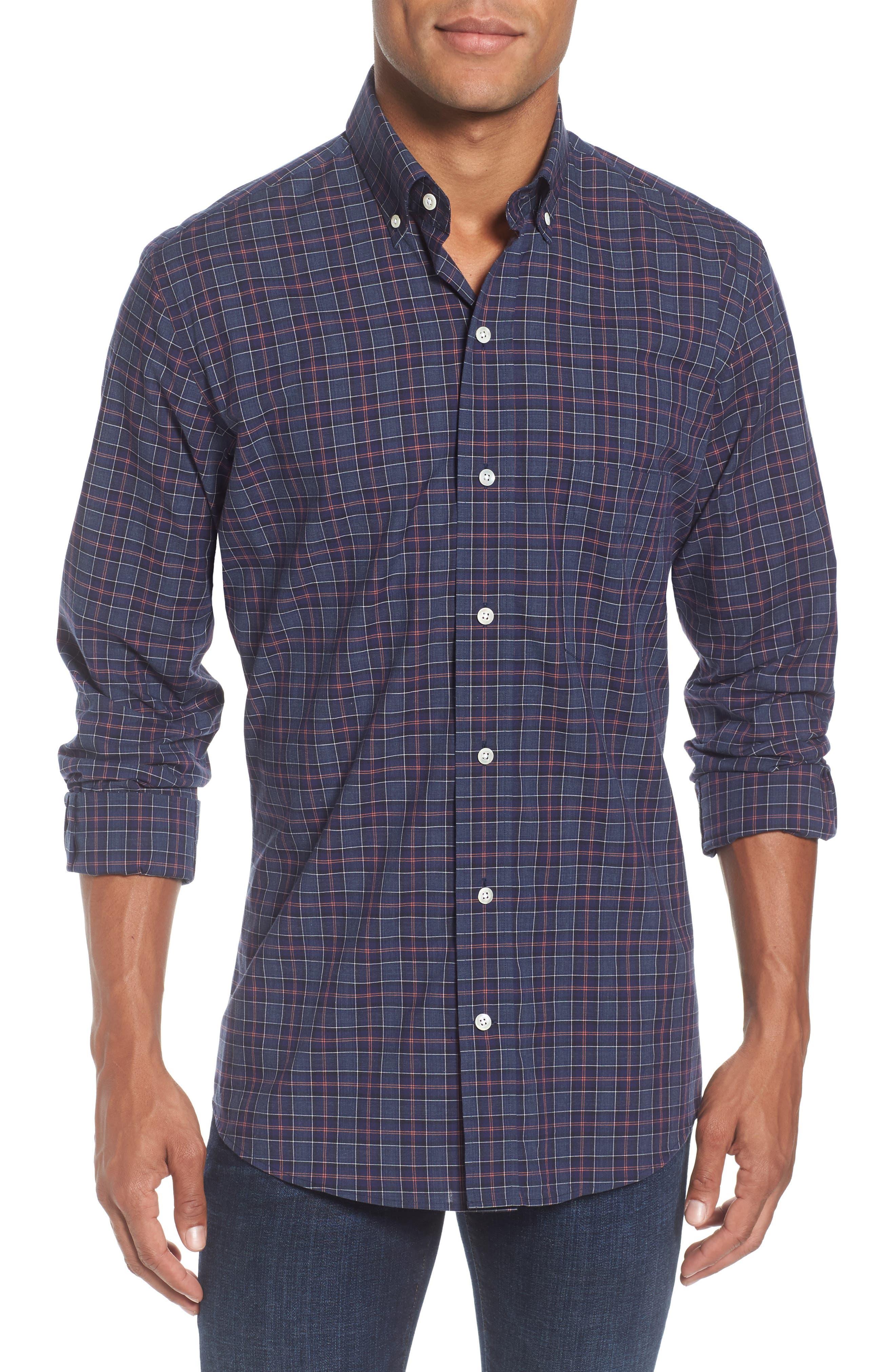 Slim Fit Plaid Sport Shirt,                             Main thumbnail 1, color,                             Navy