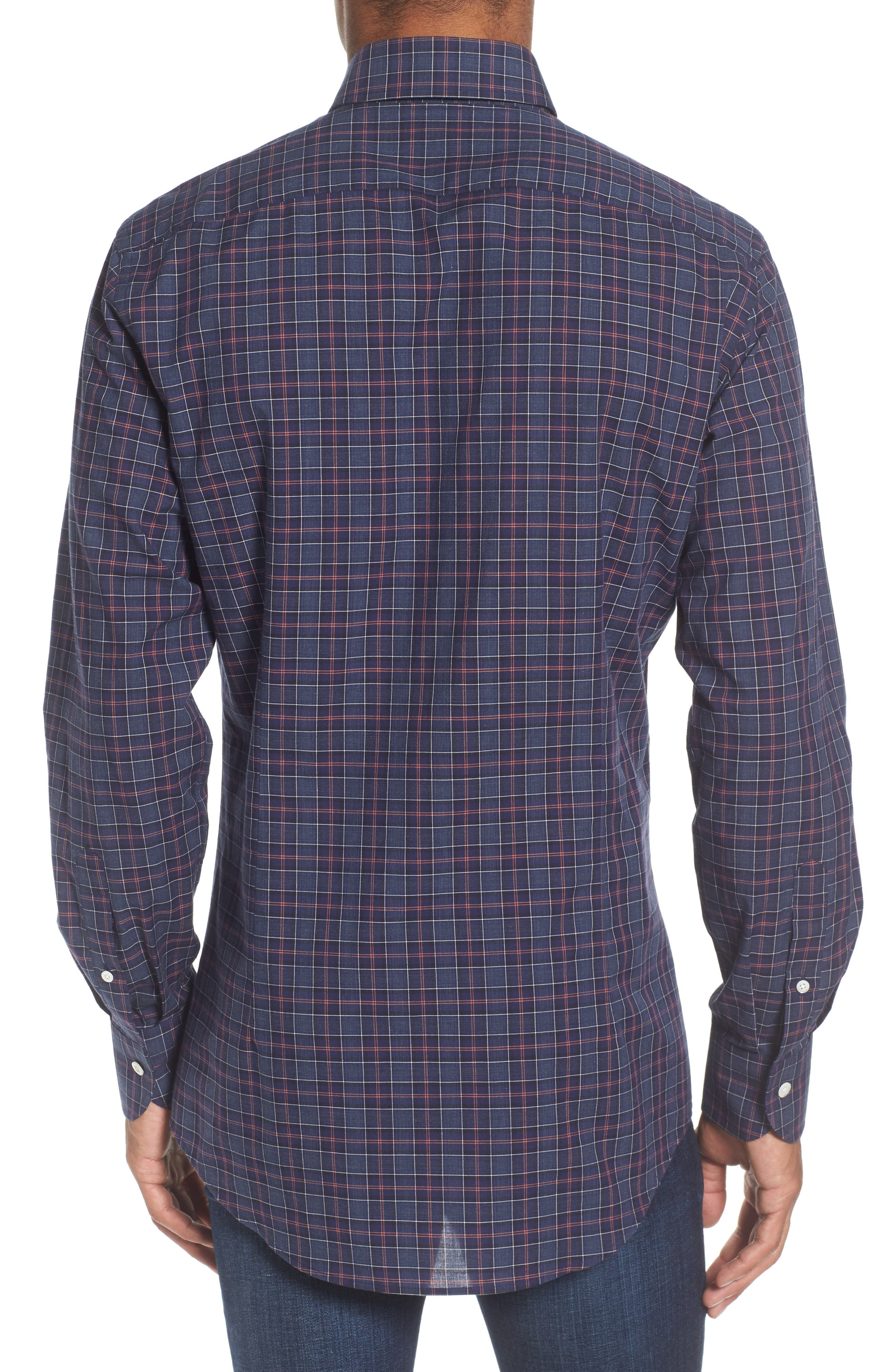 Slim Fit Plaid Sport Shirt,                             Alternate thumbnail 2, color,                             Navy