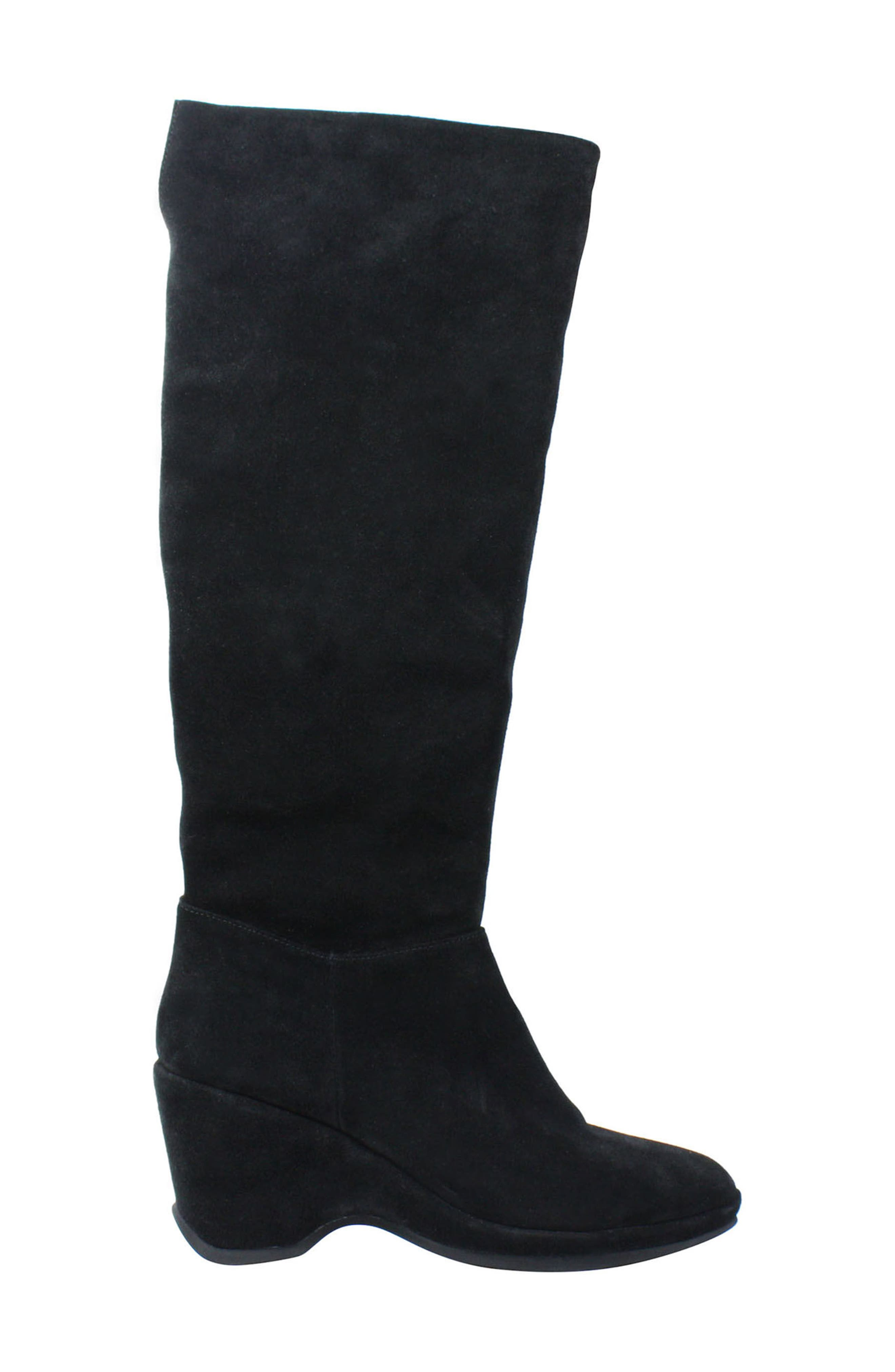 Odalys Tall Boot,                             Alternate thumbnail 3, color,                             Black Suede