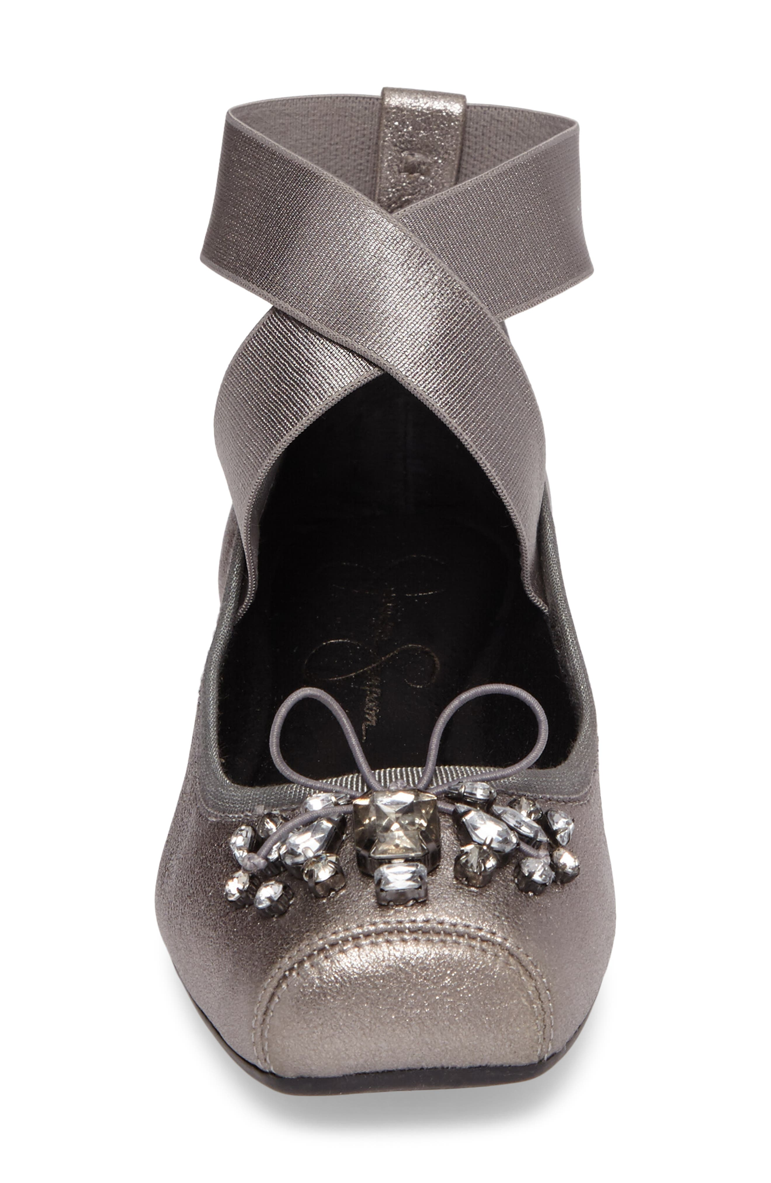 Miaha Embellished Blunt Toe Flat,                             Alternate thumbnail 3, color,                             Alloy Leather