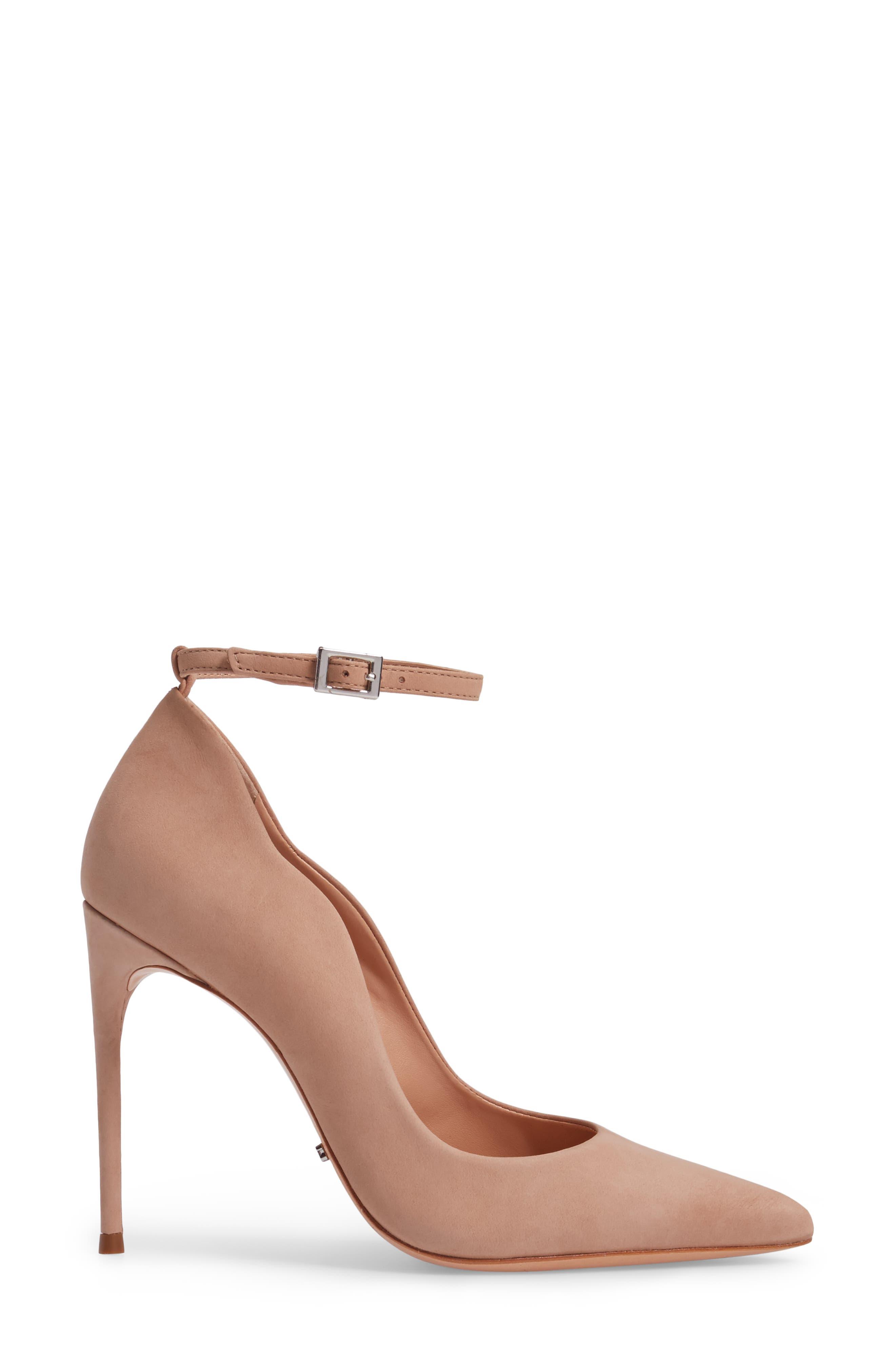 Thaynara Ankle Strap Pump,                             Alternate thumbnail 3, color,                             Amendoa Nubuck Leather