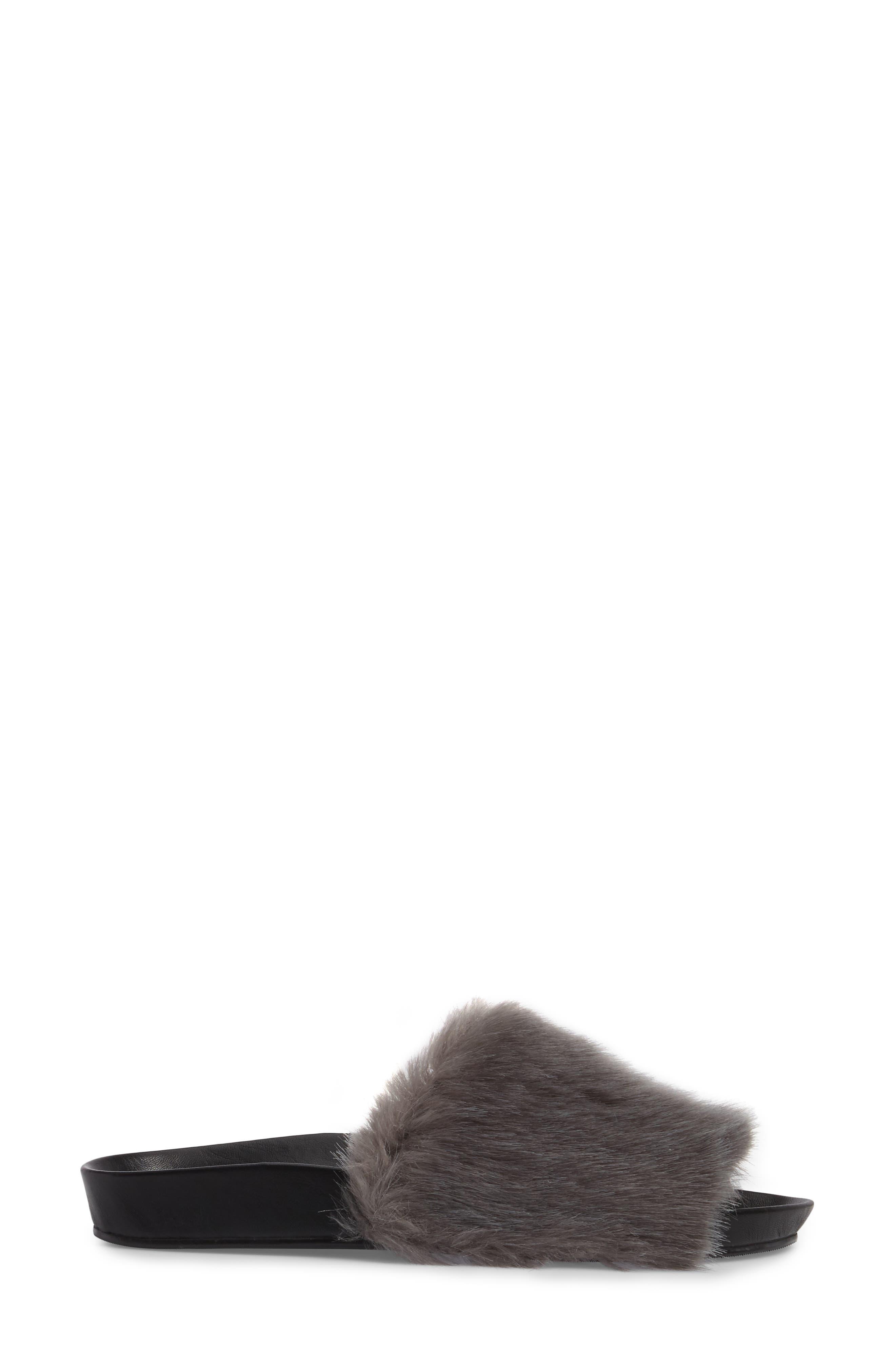 Sirius Faux Fur Slide,                             Alternate thumbnail 3, color,                             Silver Fur