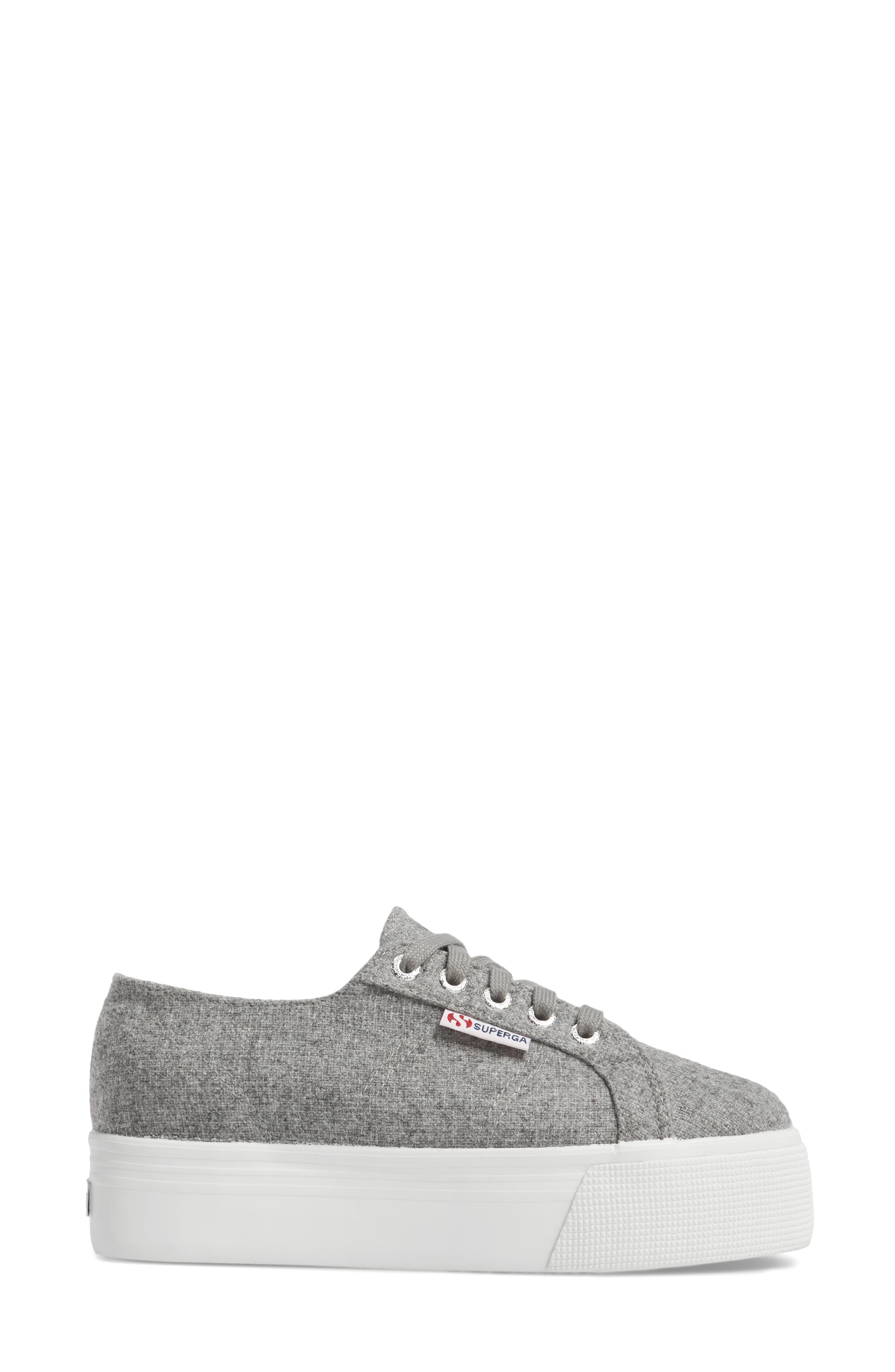 2790 Platform Sneaker,                             Alternate thumbnail 3, color,                             Light Grey Canvas
