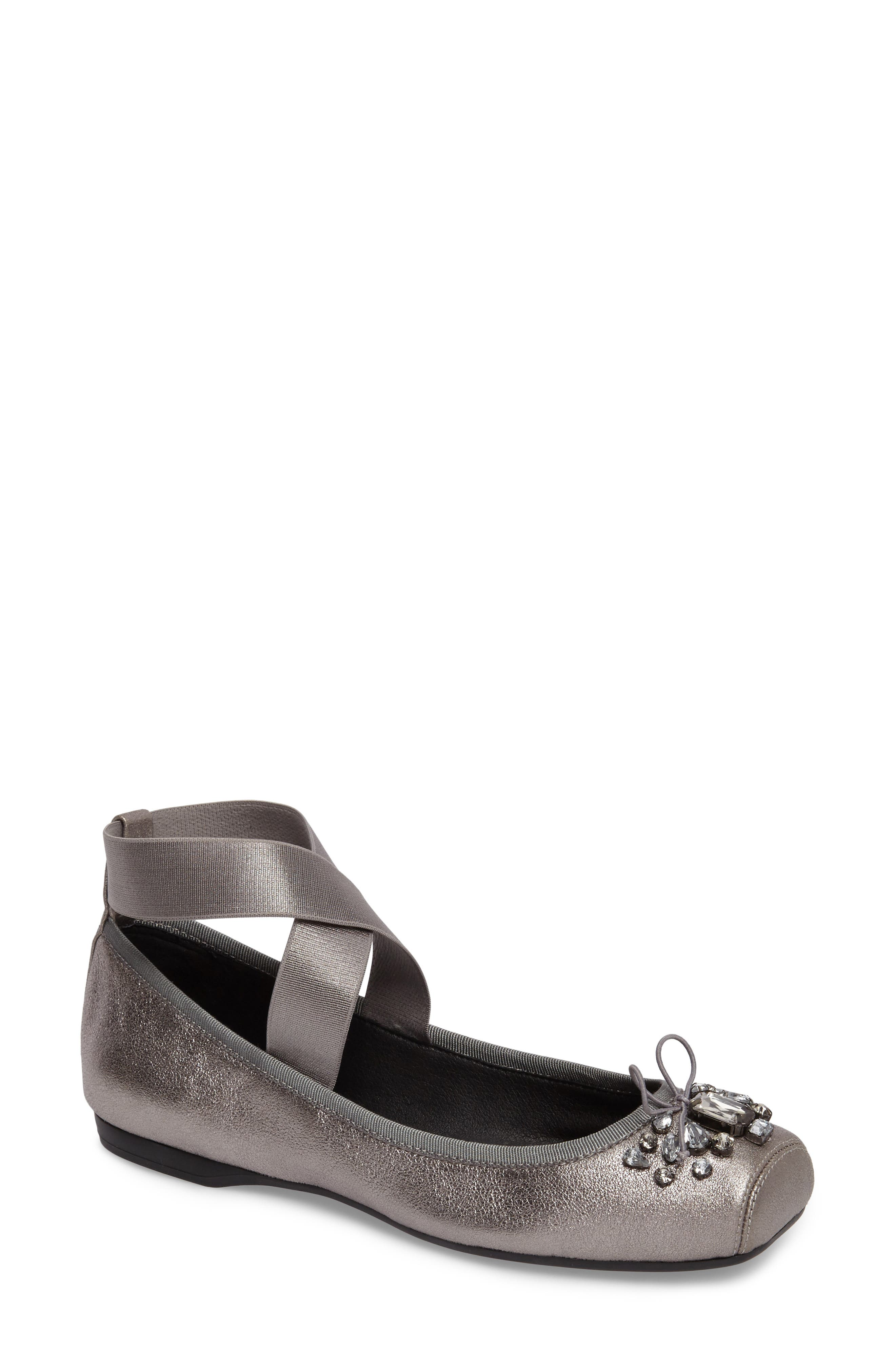 Miaha Embellished Blunt Toe Flat,                         Main,                         color, Alloy Leather