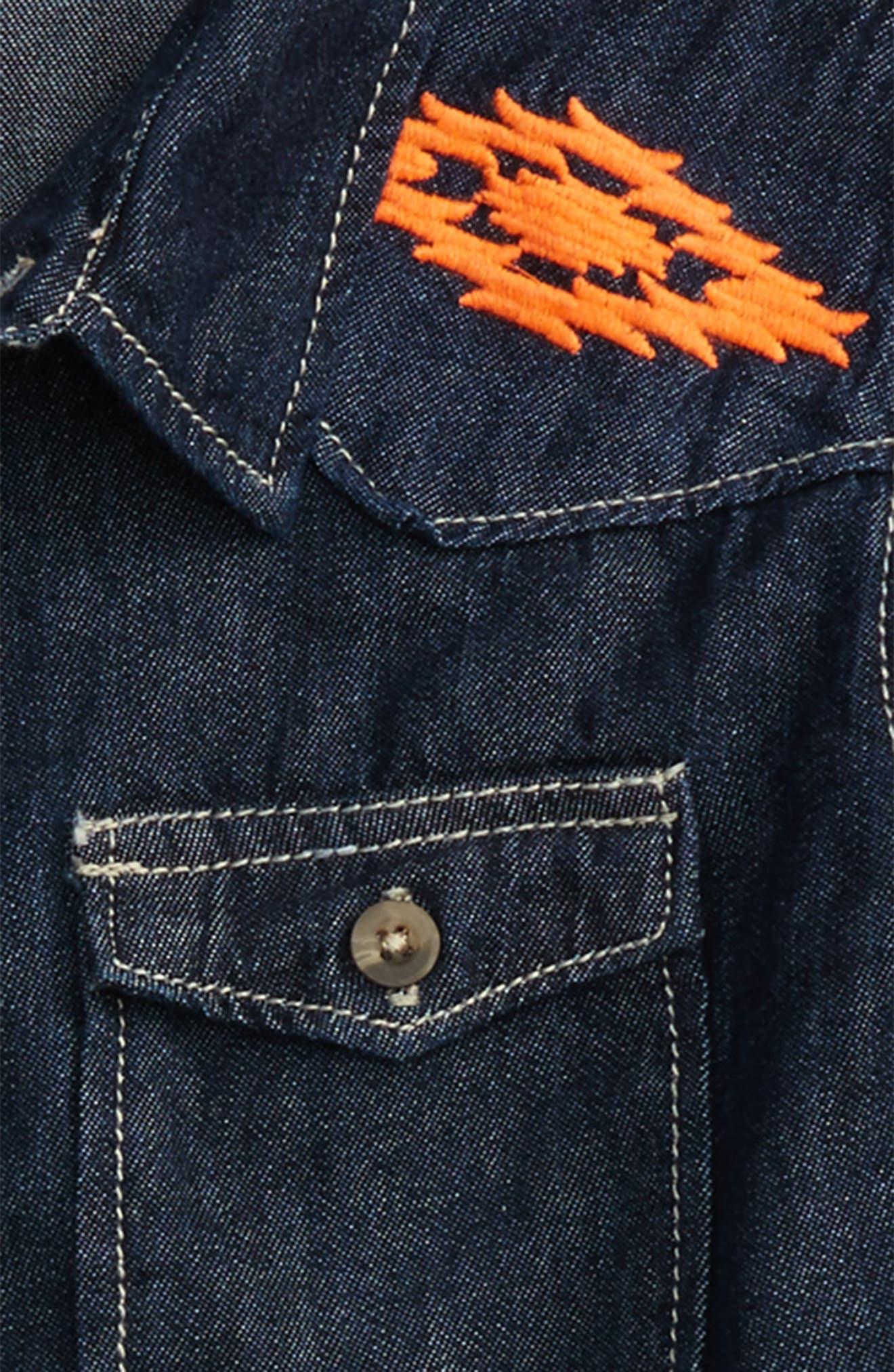 Nash Embroidered Denim Shirt,                             Alternate thumbnail 3, color,                             Indigo