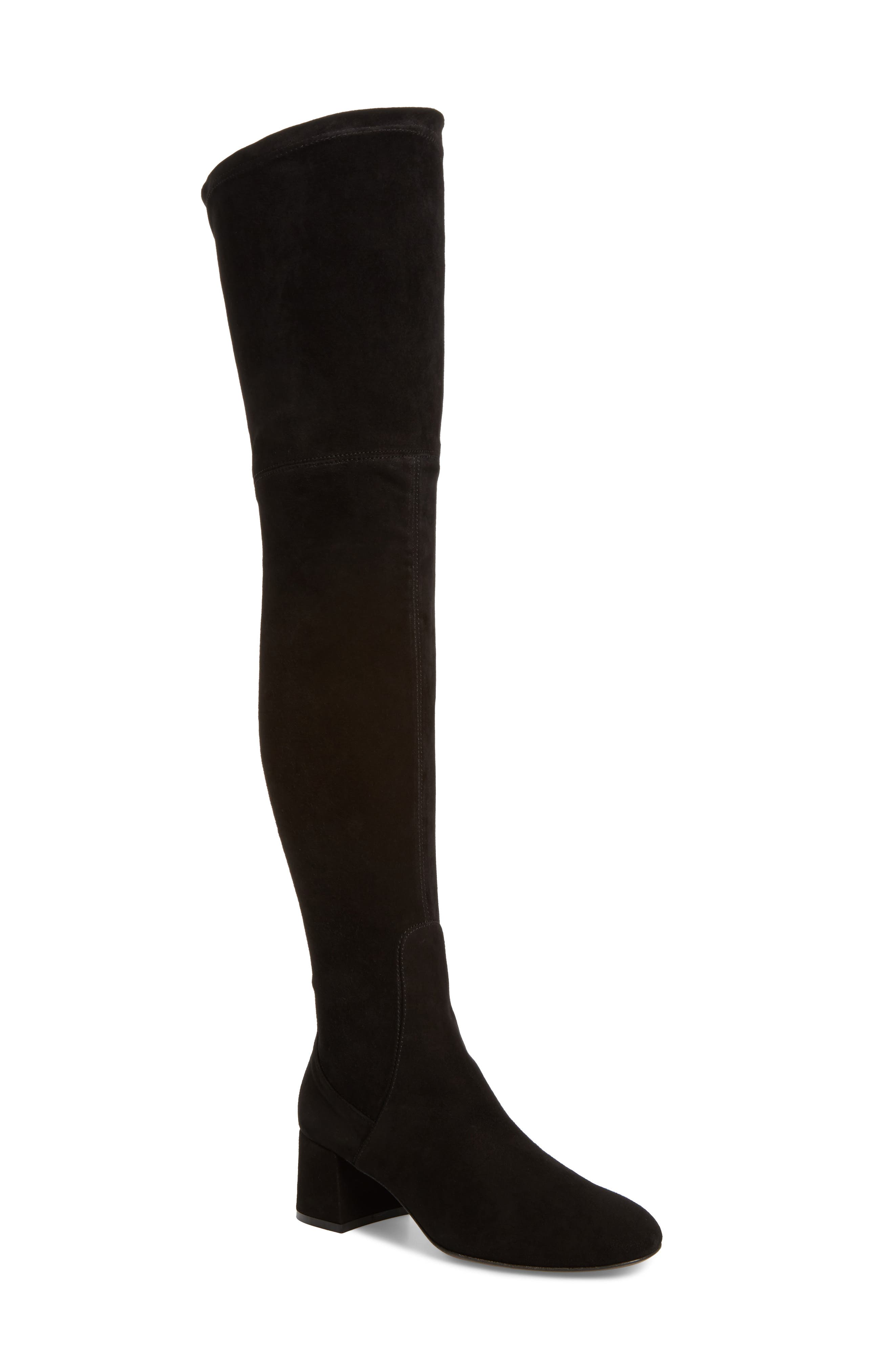 Over the Knee Boot,                         Main,                         color, Black Suede