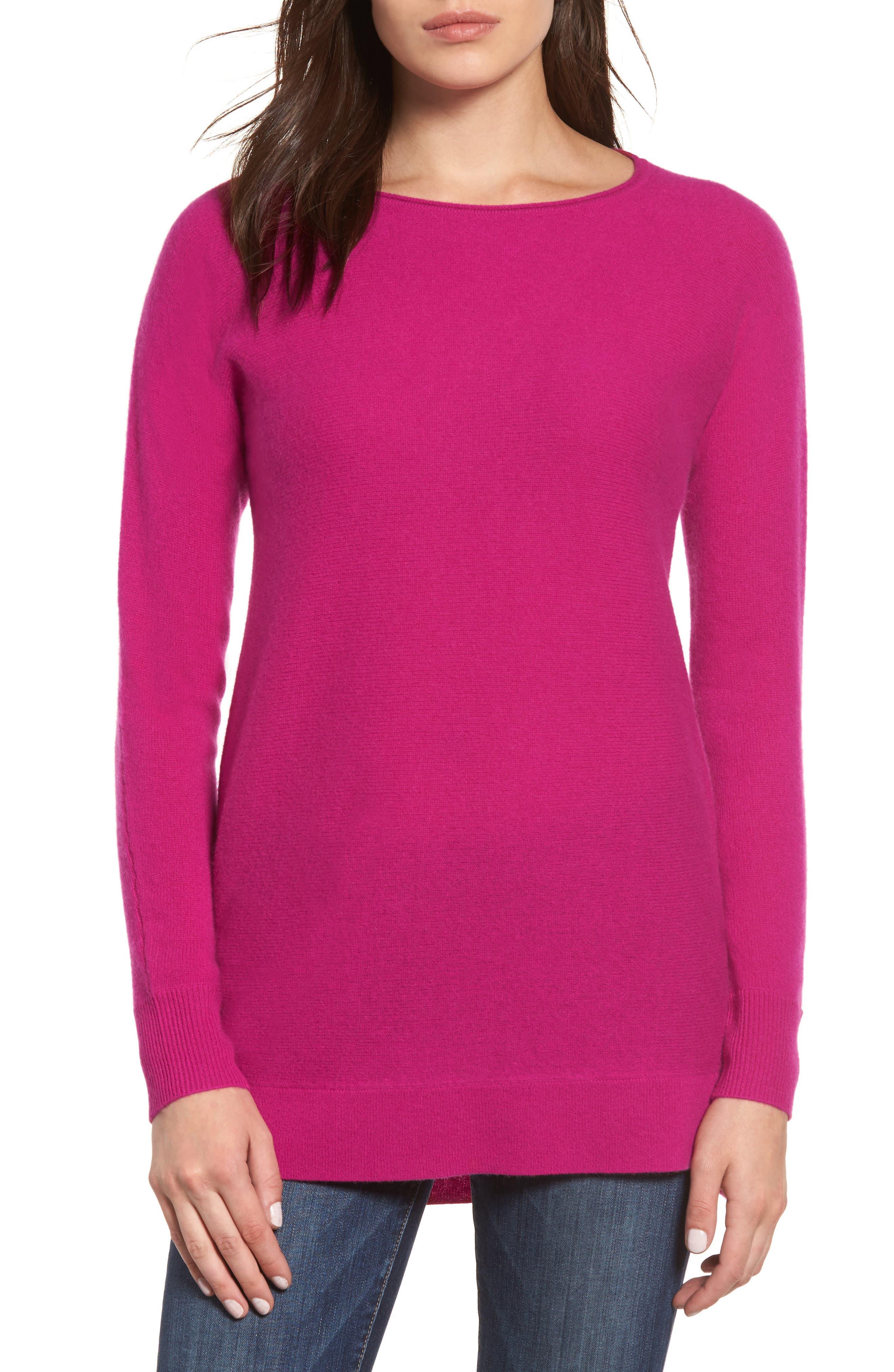 Alternate Image 1 Selected - Halogen® High/Low Wool & Cashmere Tunic Sweater (Regular & Petite)