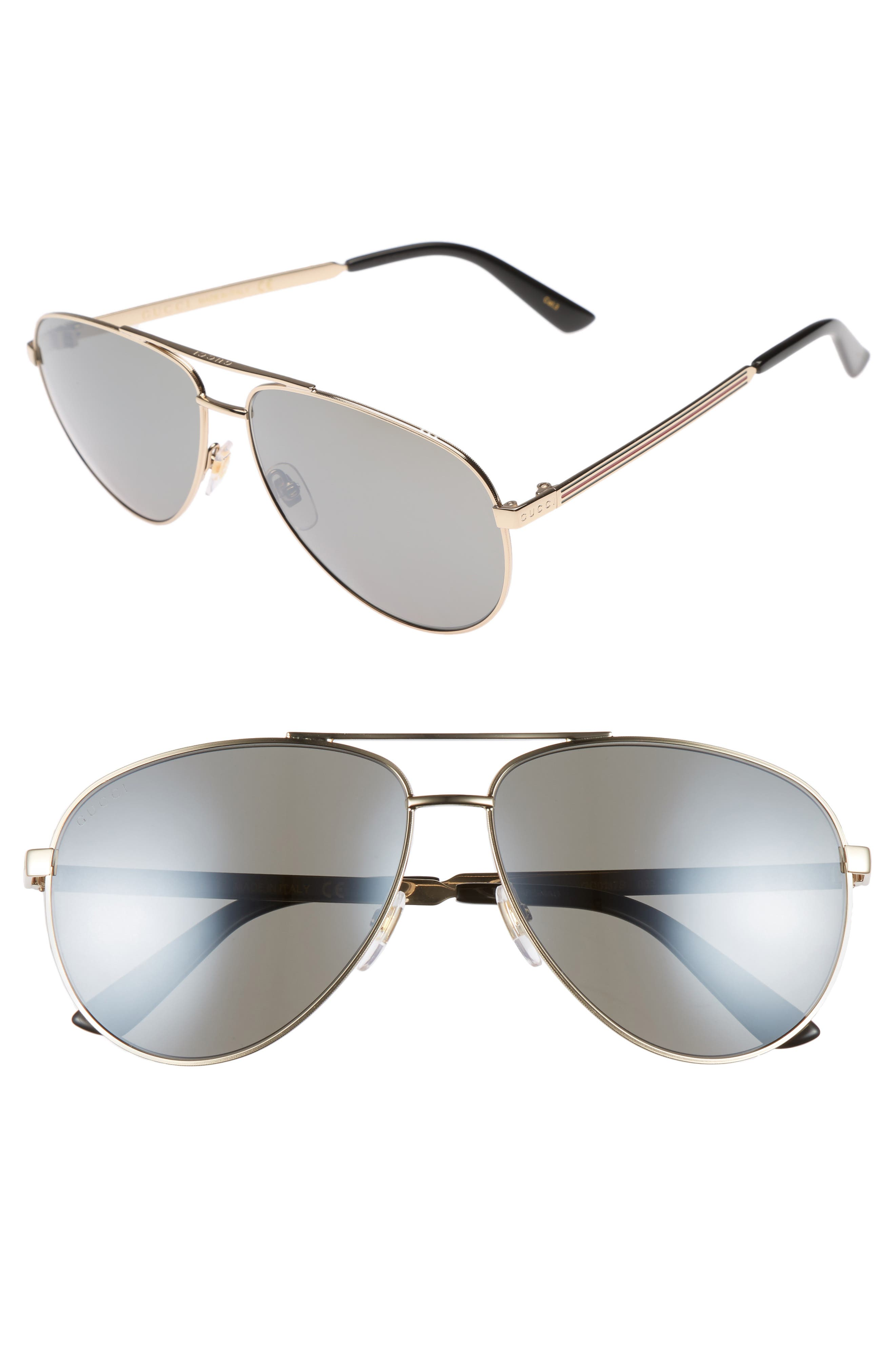 61mm Aviator Sunglasses,                         Main,                         color, Gold