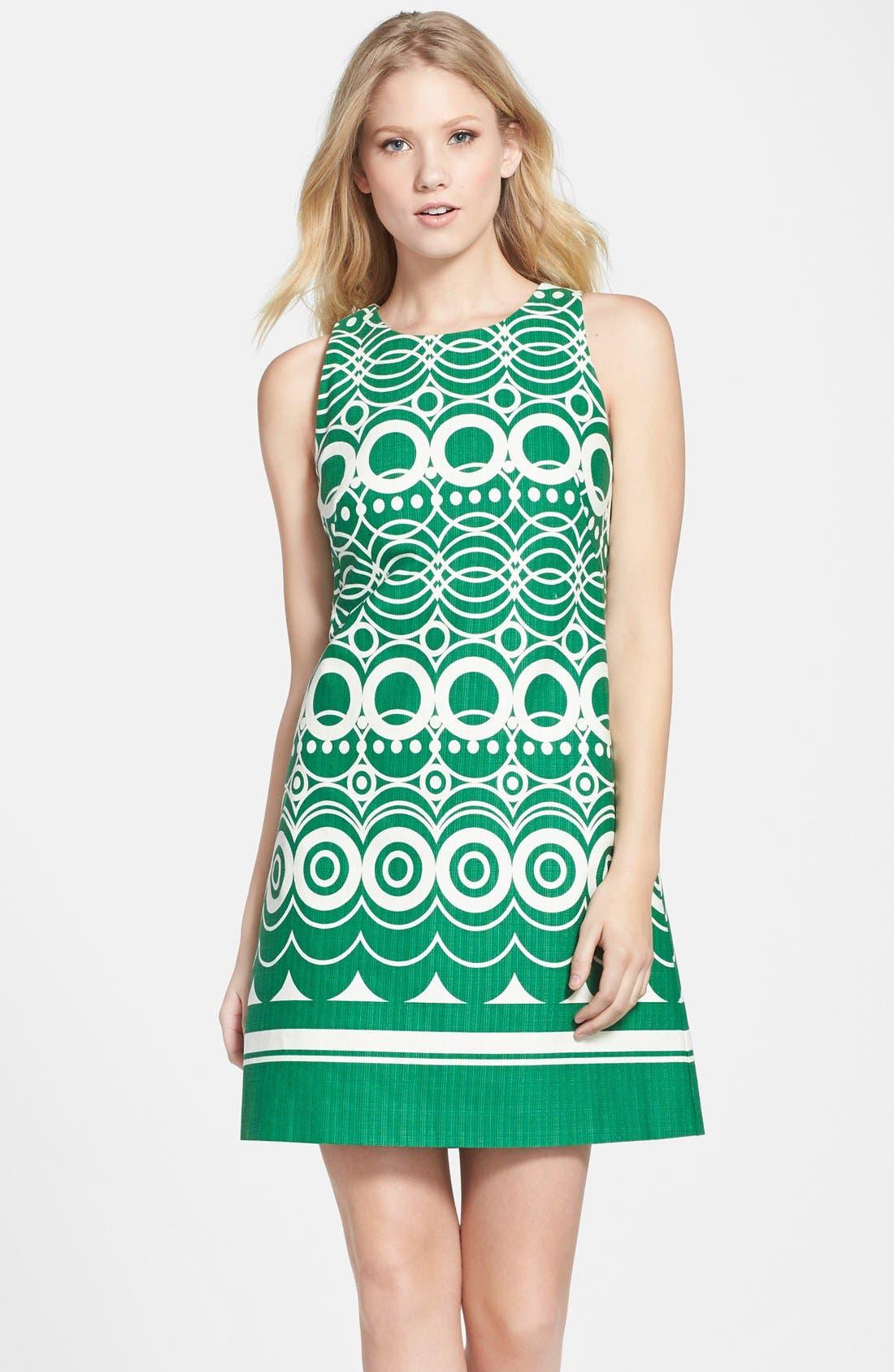 Main Image - Eliza J Graphic Print Cotton Shift Dress (Regular & Petite)