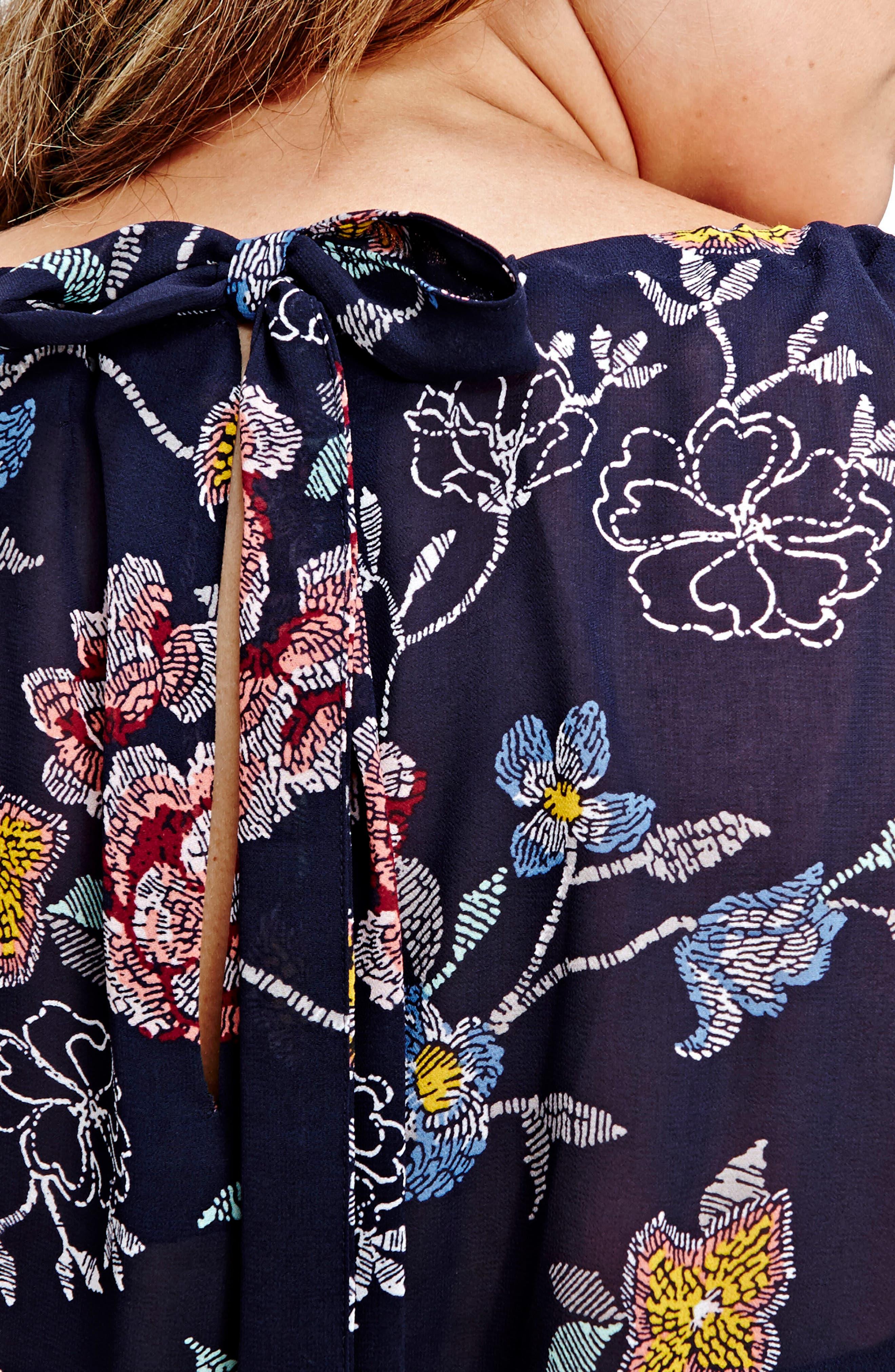 Cold Shoulder Floral Blouse,                             Alternate thumbnail 3, color,                             Eclipse Floral