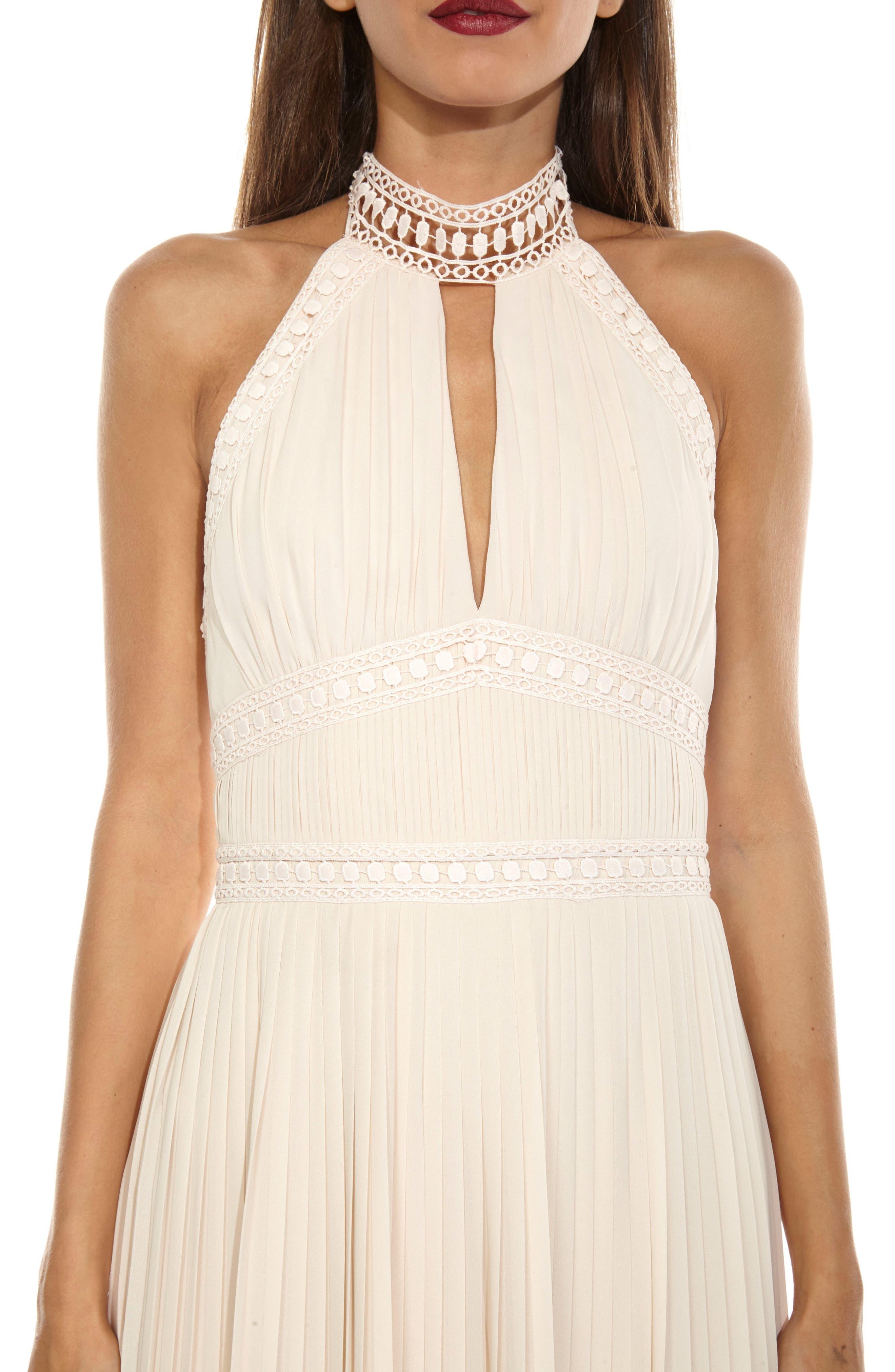 Corinne Lace Trim Halter Maxi Dress,                             Alternate thumbnail 4, color,                             Nude