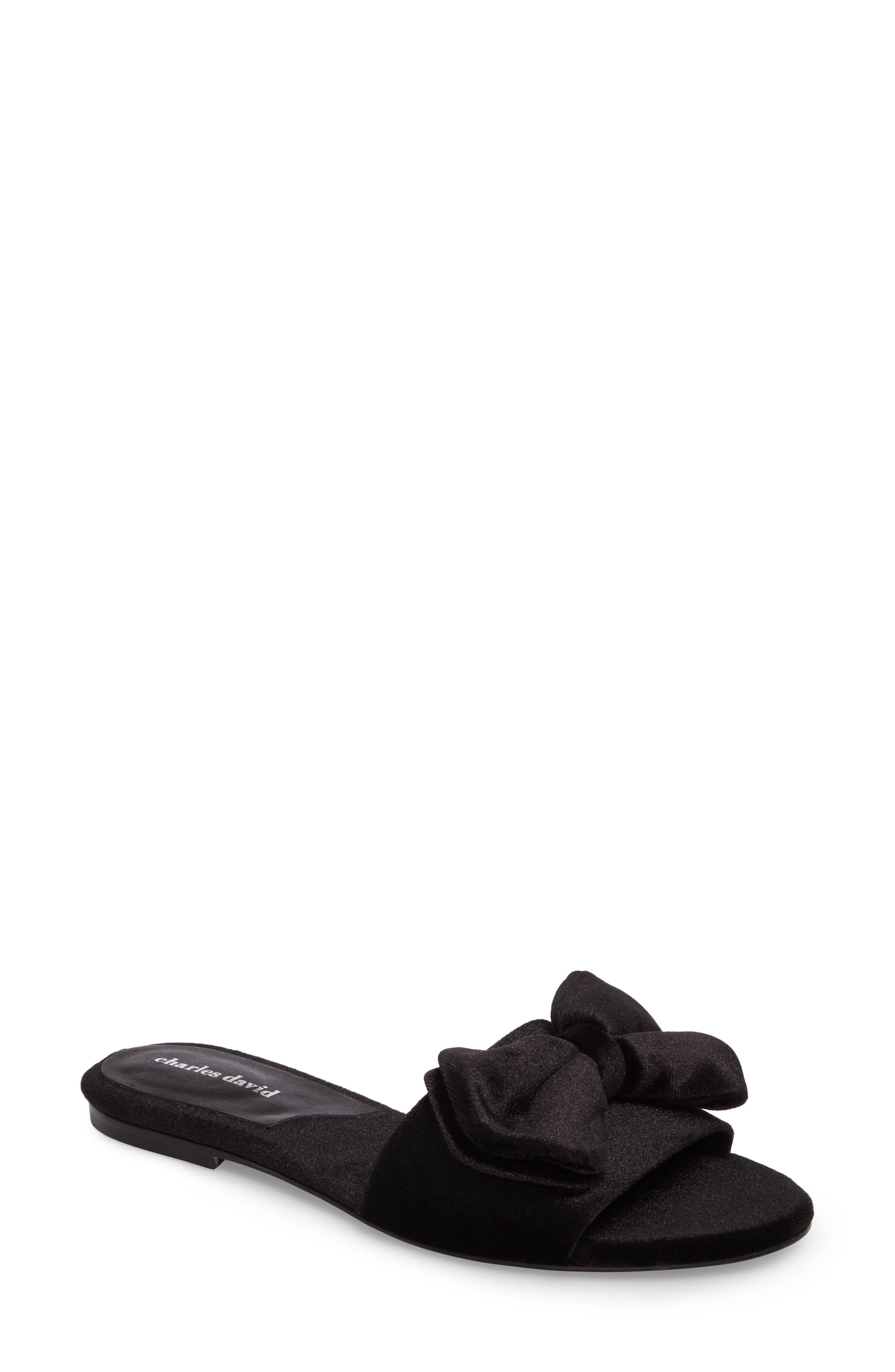 Bow Slide Sandal,                             Main thumbnail 1, color,                             Black Velvet