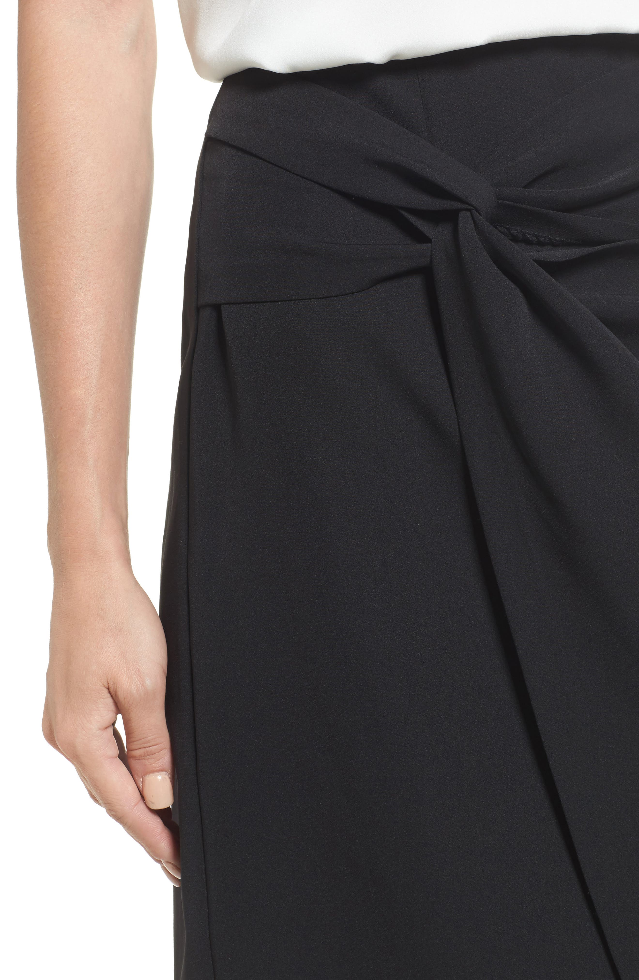 Twist Front Pencil Skirt,                             Alternate thumbnail 4, color,                             Black