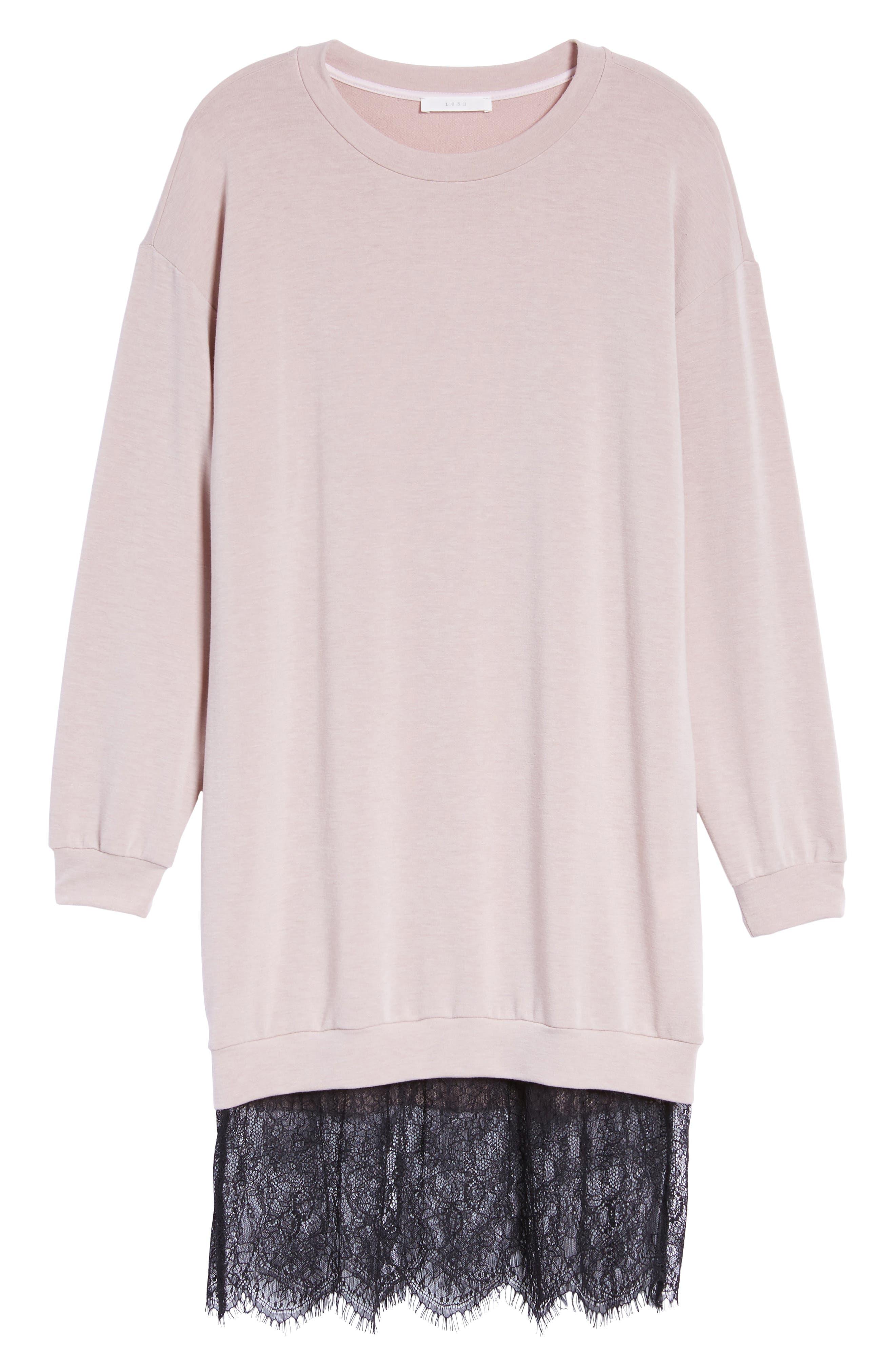Lace Hem Sweatshirt Dress