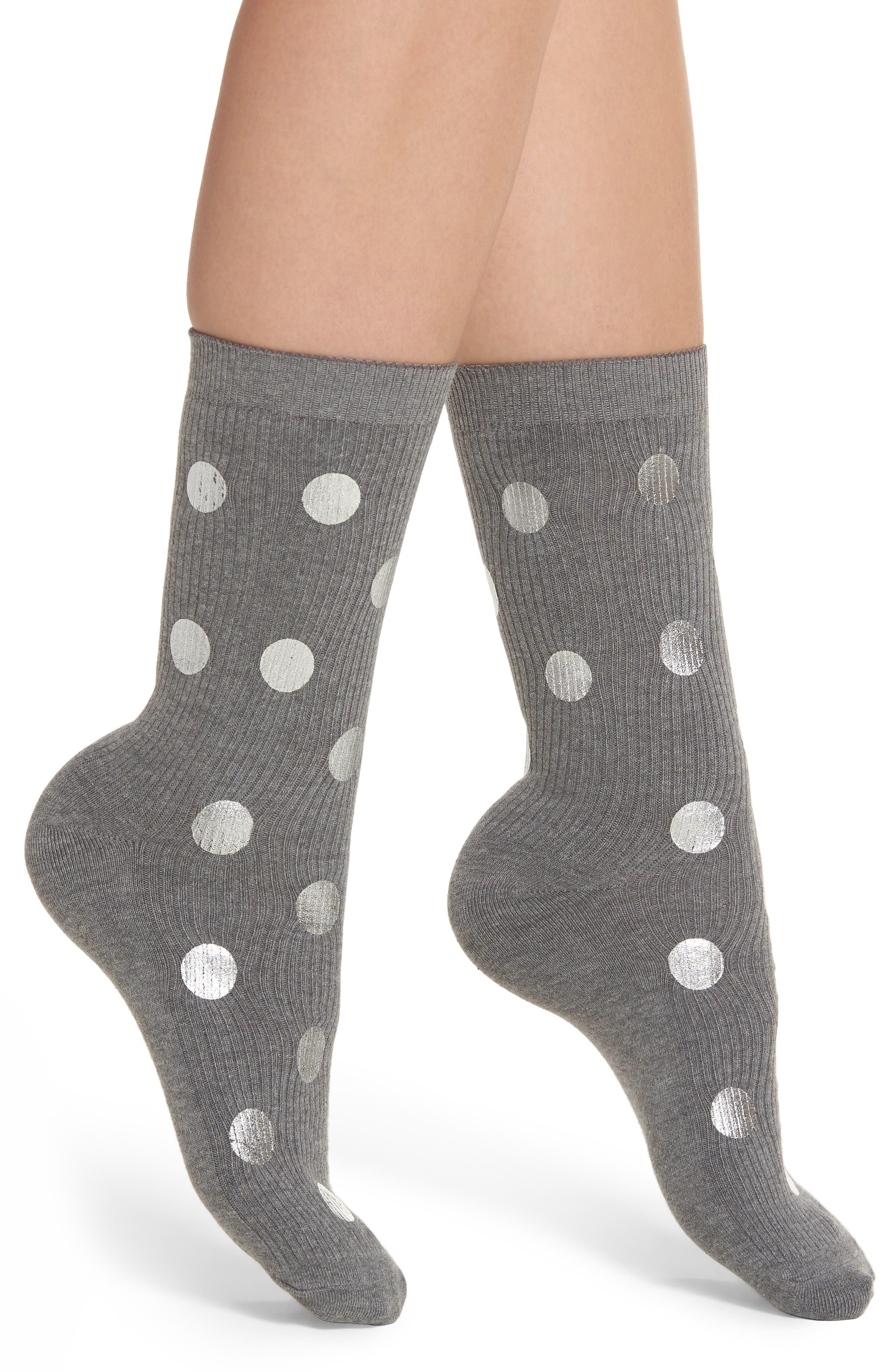Foil Dot Ribbed Crew Socks,                         Main,                         color, Grey