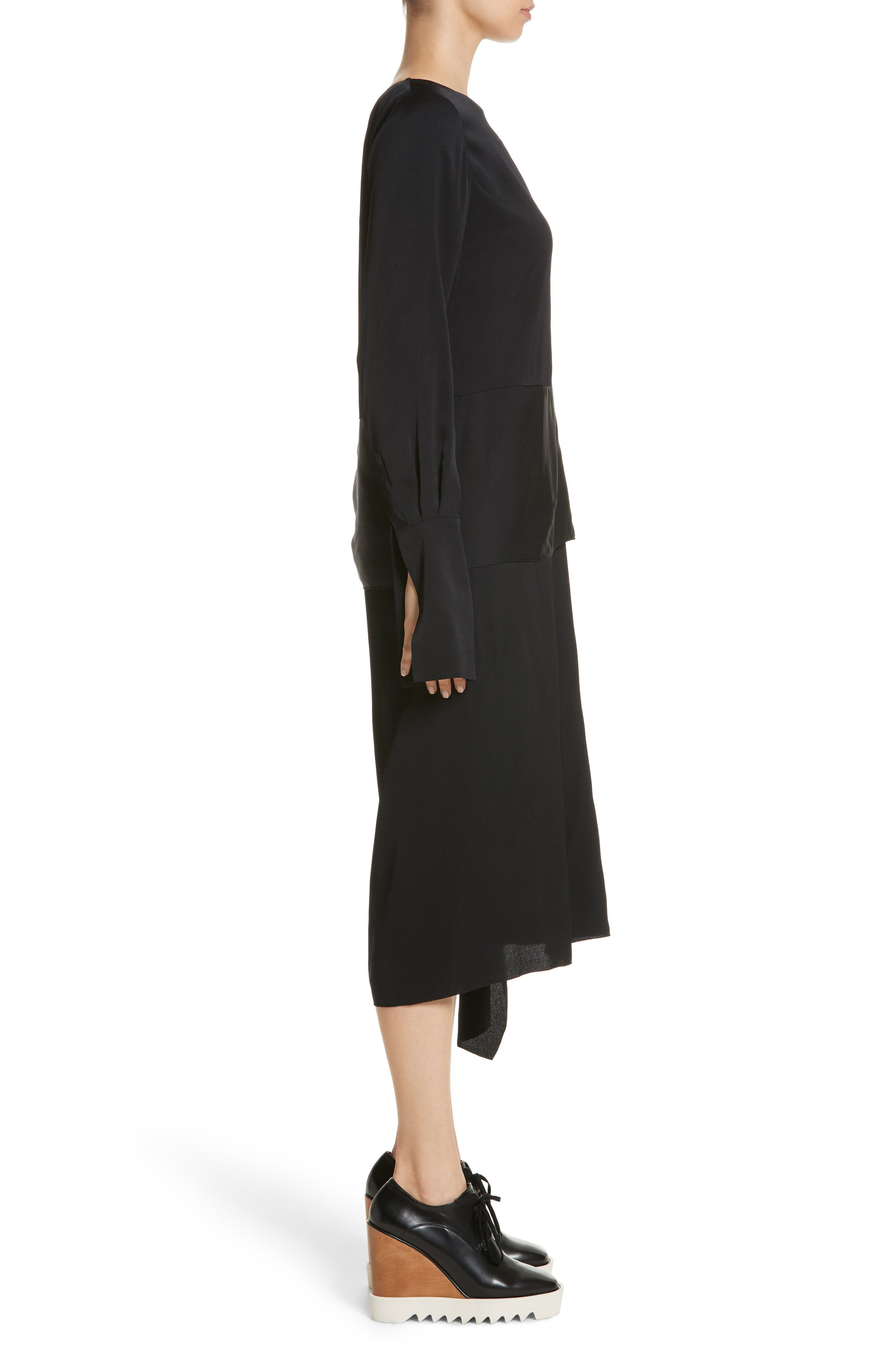One-Shoulder Draped Cady Dress,                             Alternate thumbnail 3, color,                             Black