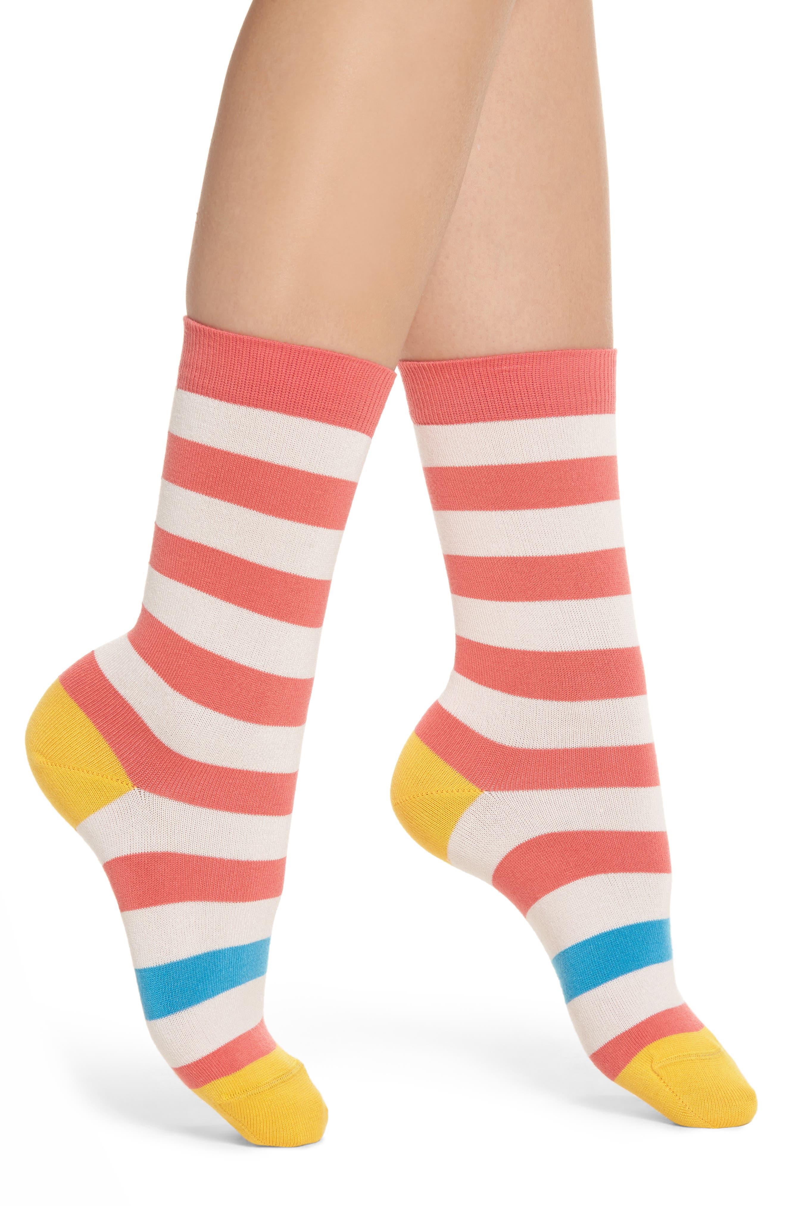 Fearne Stripe Crew Socks,                             Main thumbnail 1, color,                             Coral