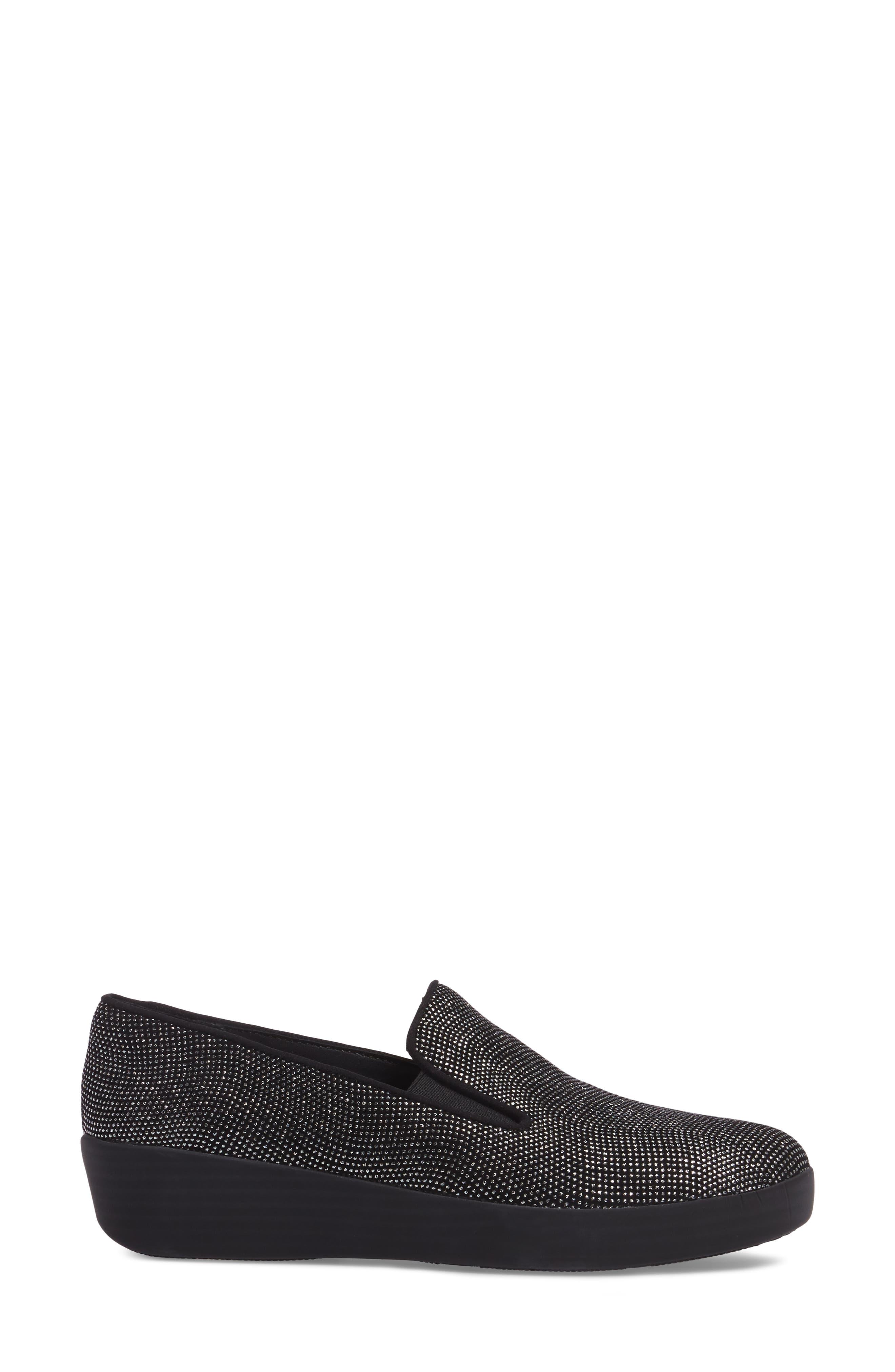 Superskate Glitter Dot Slip-On Sneaker,                             Alternate thumbnail 3, color,                             Black Glimmer Suede