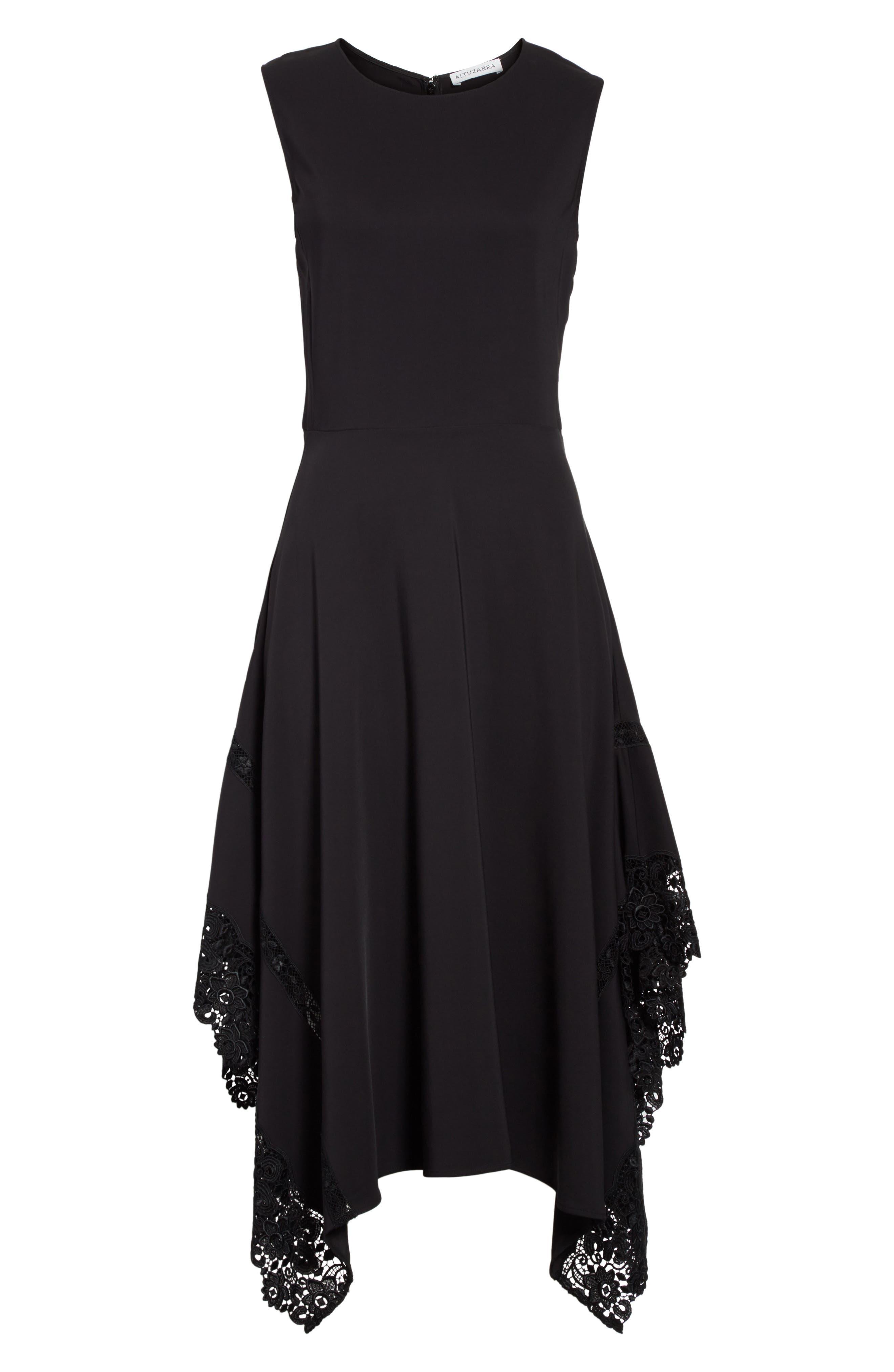 Lace Hem Midi Dress,                             Alternate thumbnail 7, color,                             Black