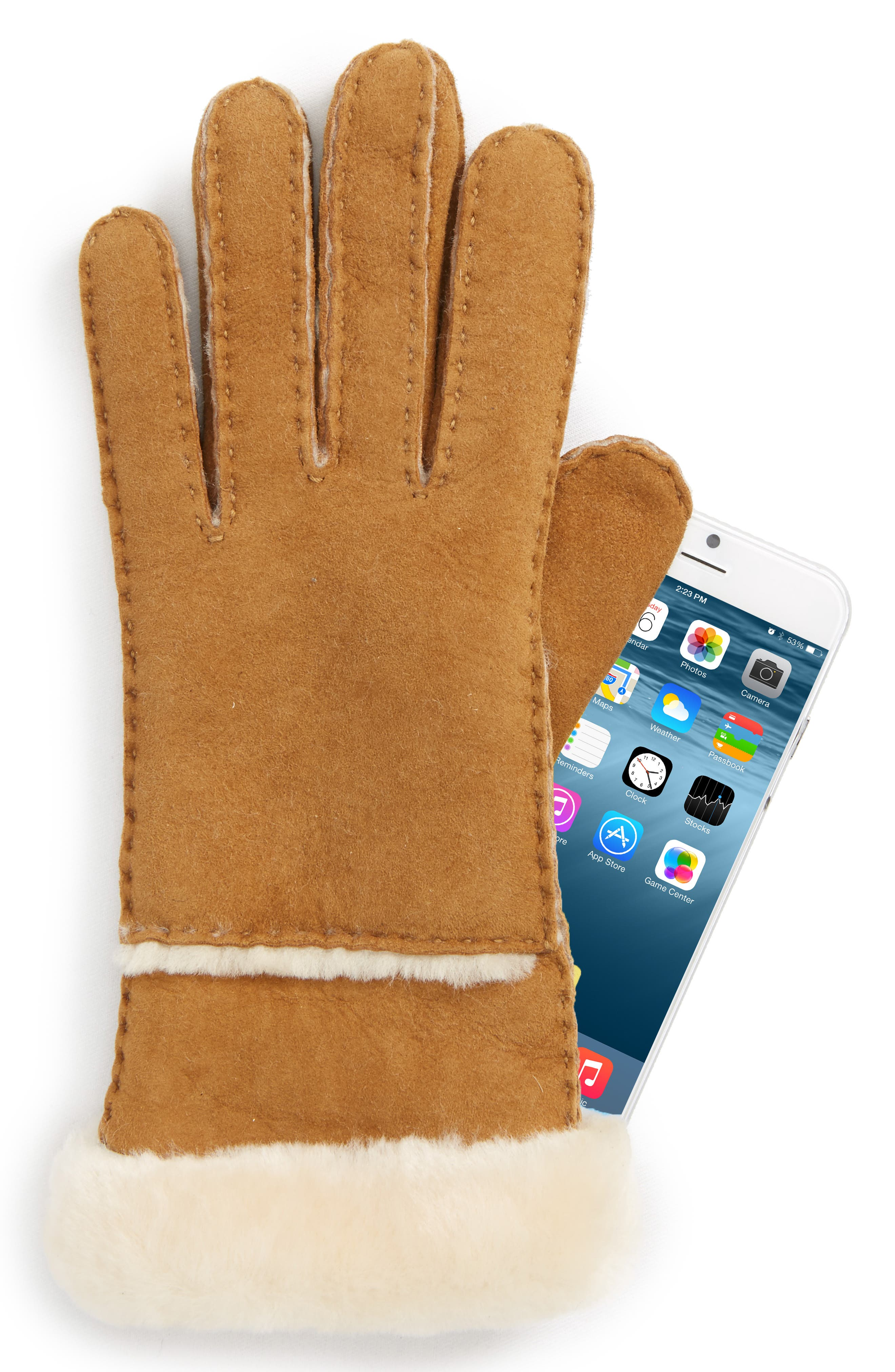 UGG<sup>®</sup> Slim Genuine Shearling Tech Gloves,                             Alternate thumbnail 2, color,                             Chestnut