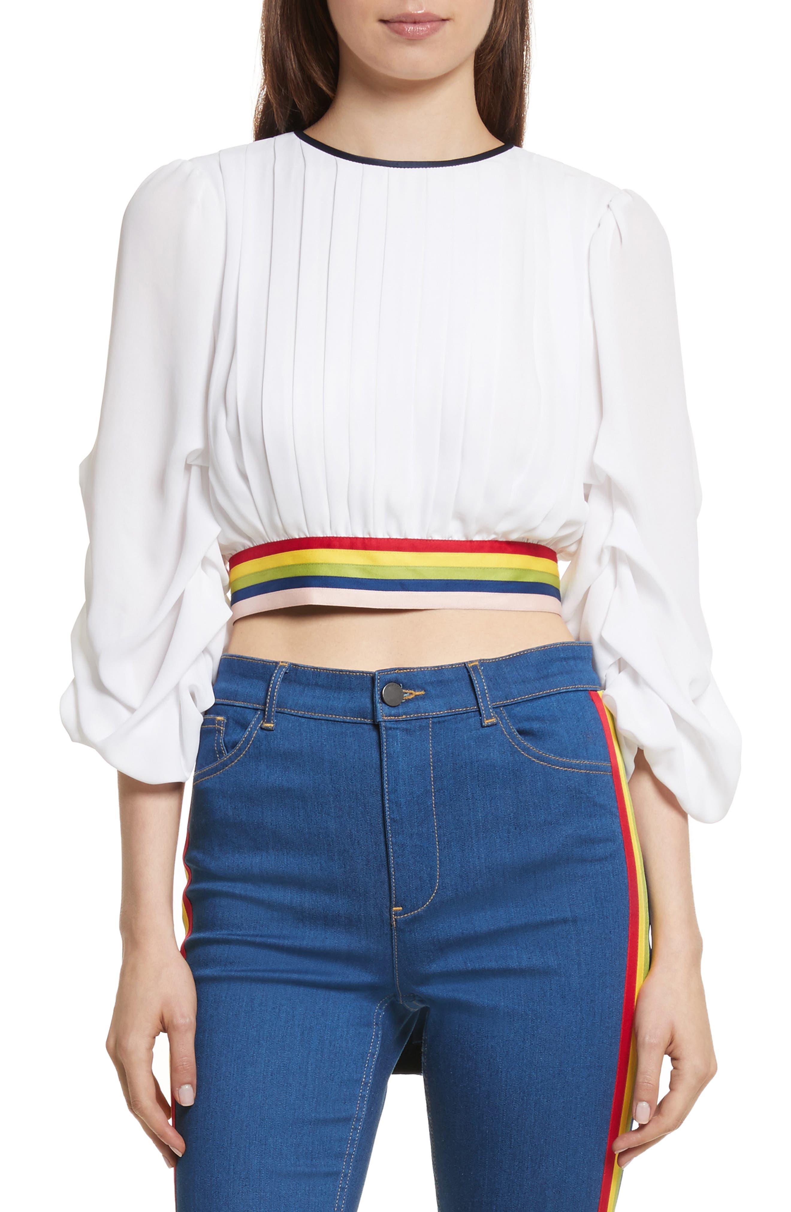 Dakota Tack Sleeve Top,                         Main,                         color, White/ Multi