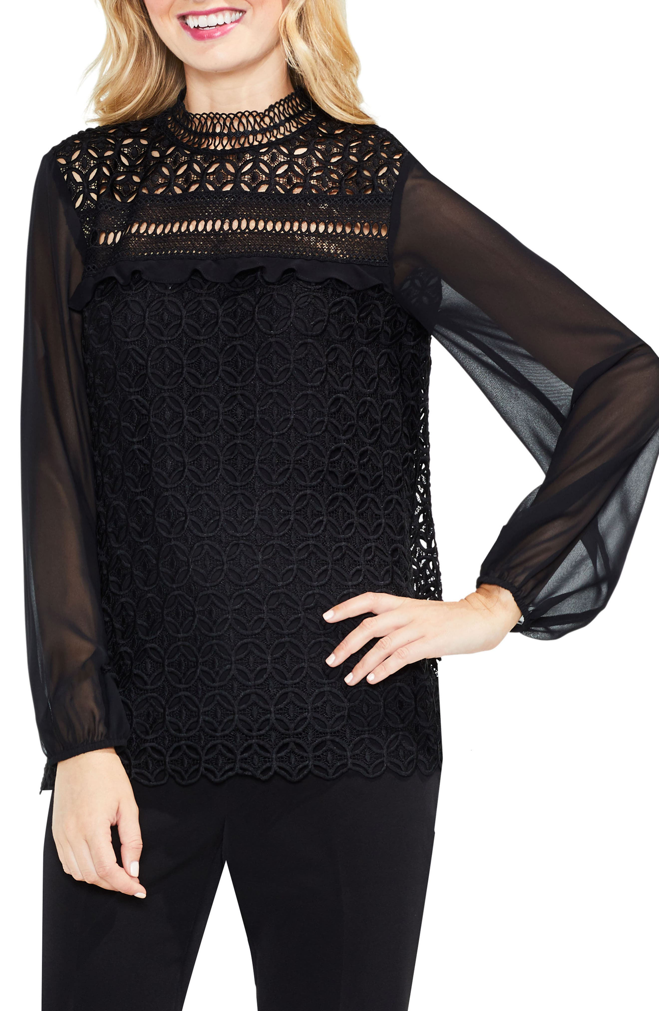 Main Image - Vince Camuto Mock Neck Geo Lace Top