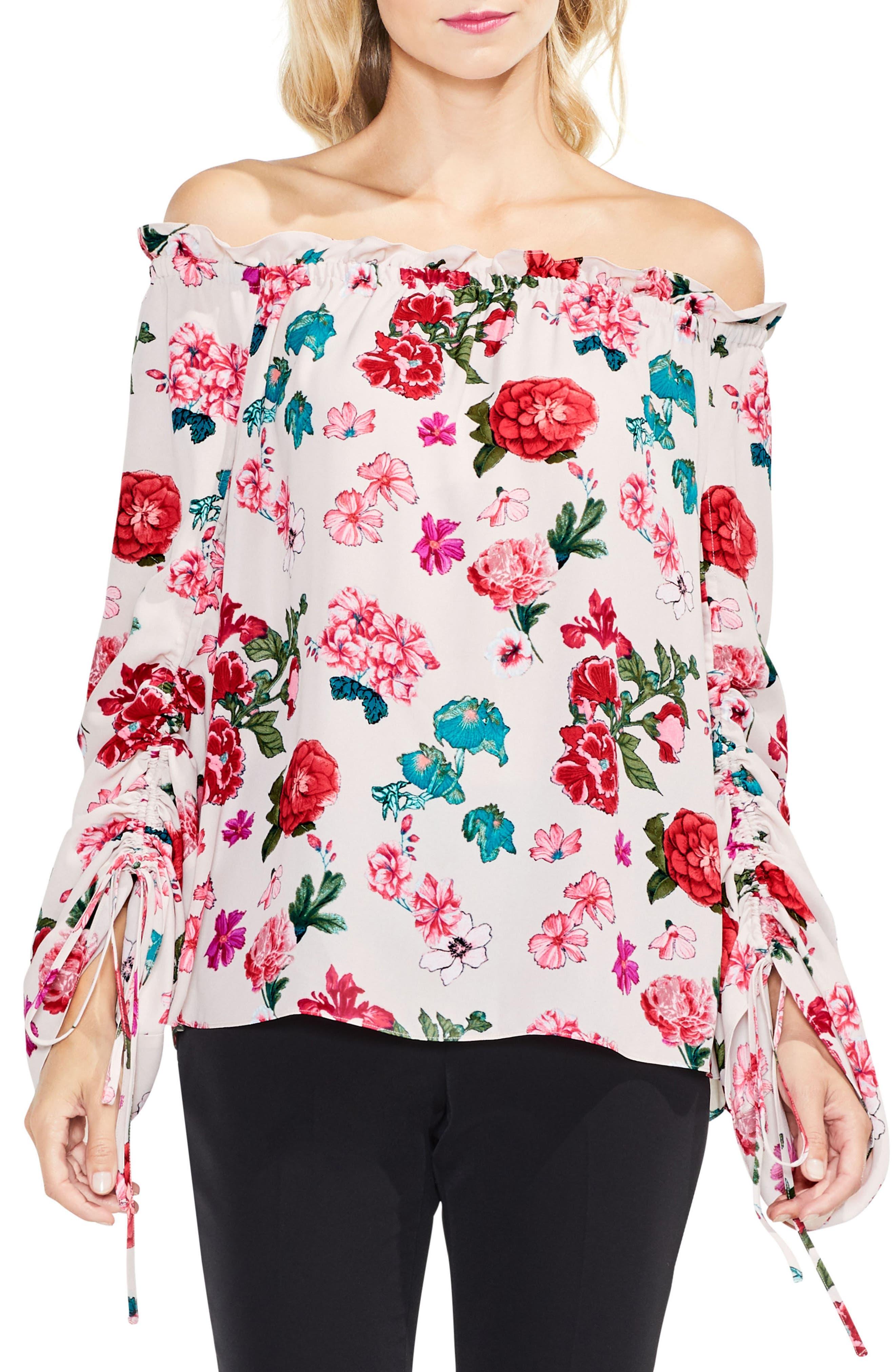 Off the Shoulder Floral Heirloom Top,                         Main,                         color, Hush Pink