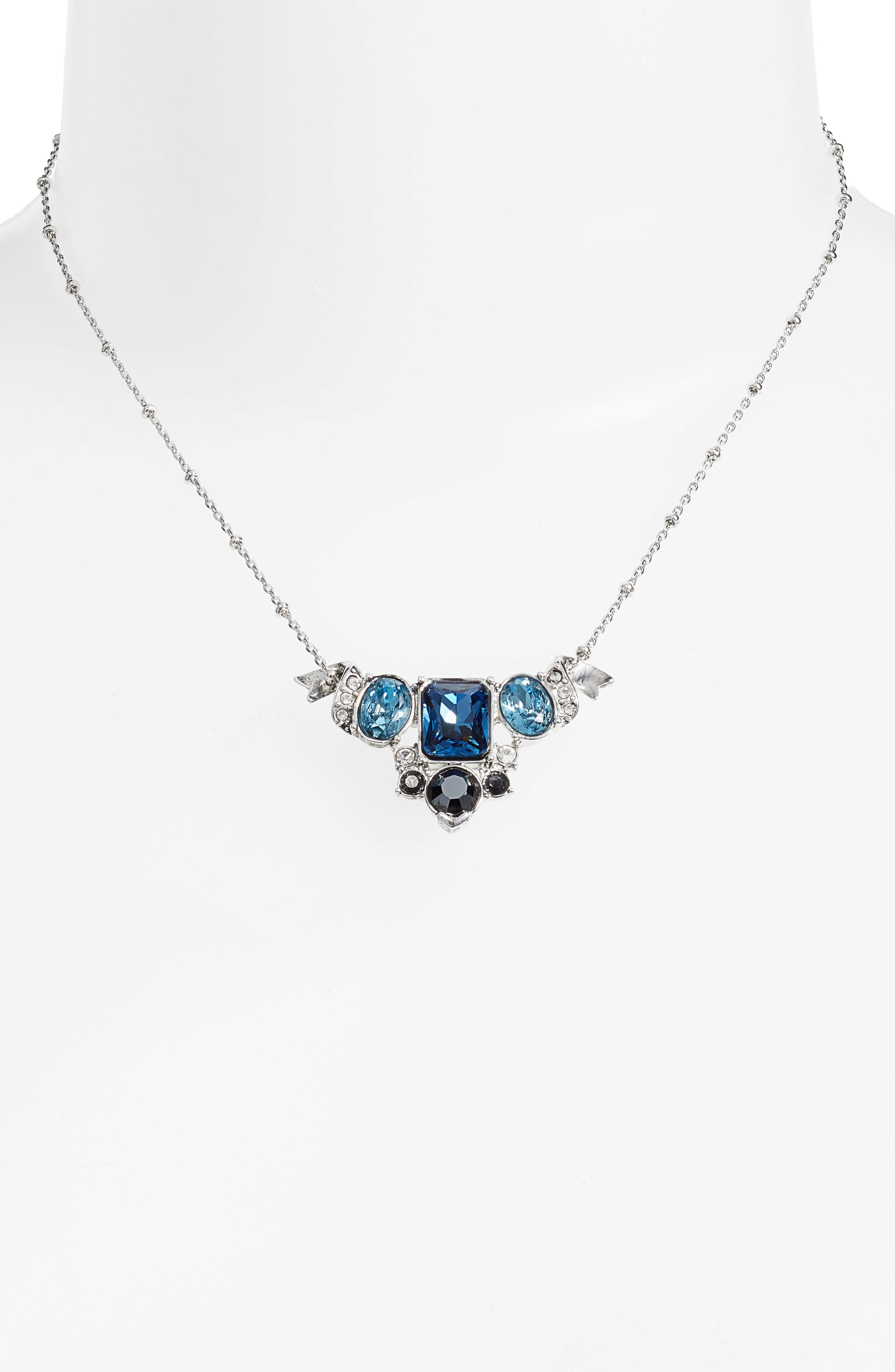 Pendant Necklace,                             Alternate thumbnail 2, color,                             Silver/ Crystal/ Blue Multi
