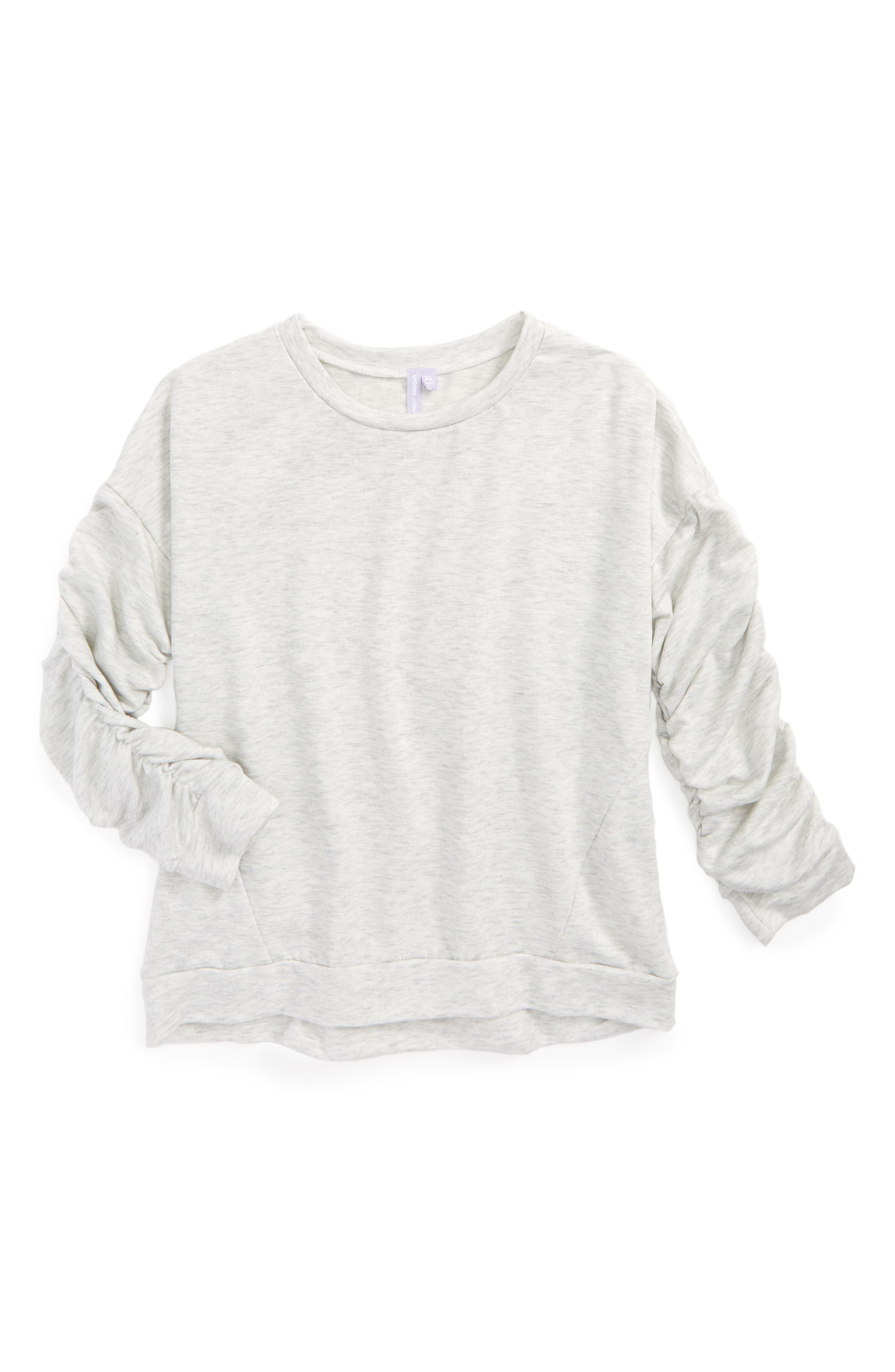 Good Luck Gem Ruched Sleeve Sweatshirt (Big Girls)