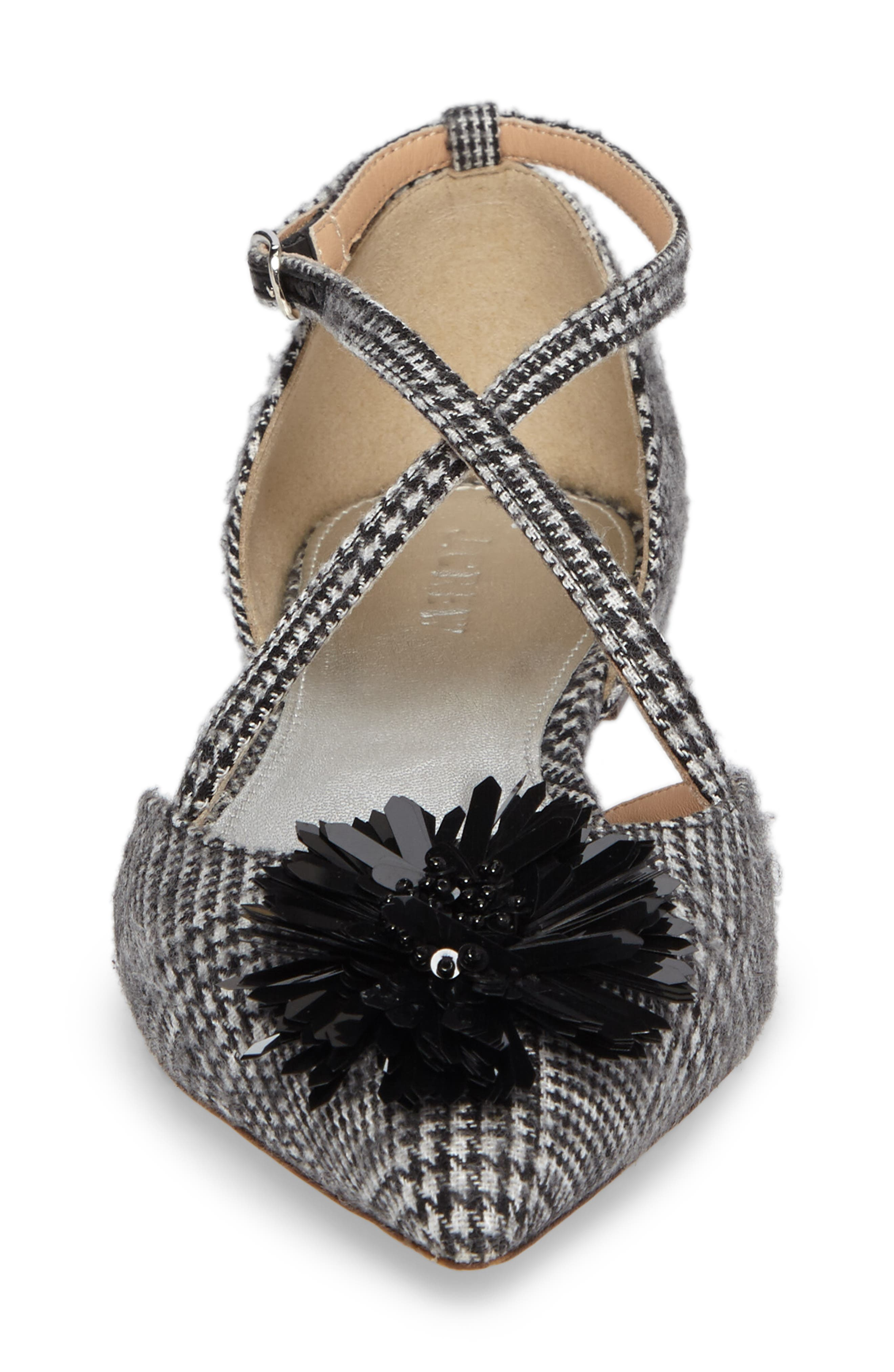 Sadie Cross Strap Pointy Toe Flat,                             Alternate thumbnail 4, color,                             Black/ White Fabric