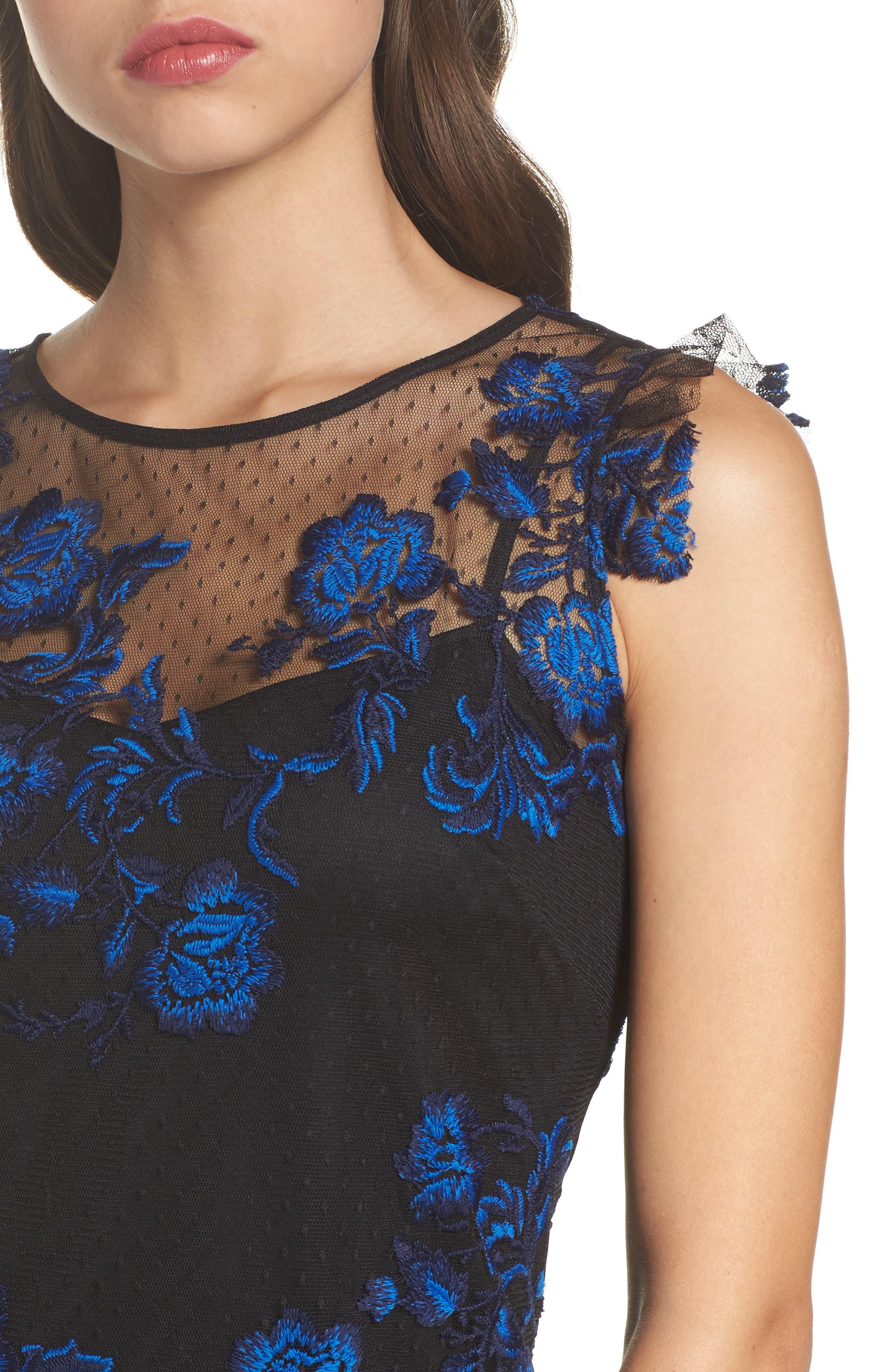 Embroidered Mesh Sheath Dress,                             Alternate thumbnail 4, color,                             Blue/ Black
