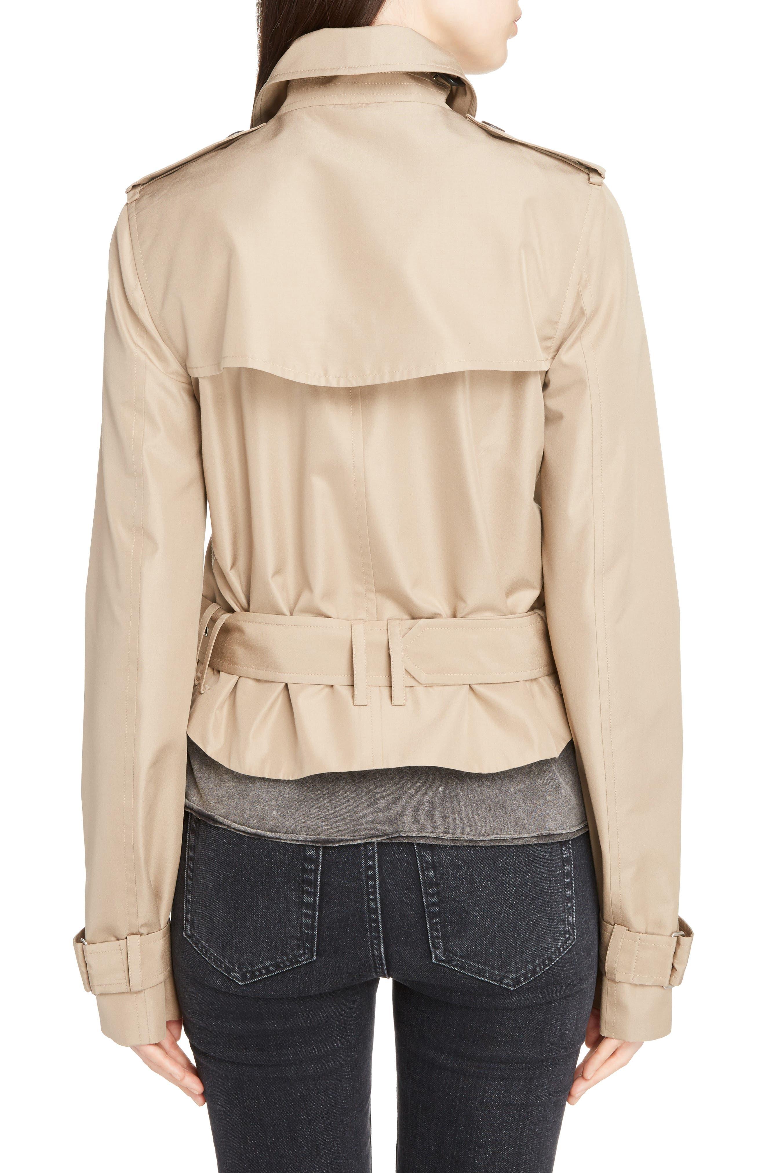 Cotton Gabardine Crop Trench Jacket,                             Alternate thumbnail 2, color,                             Sable