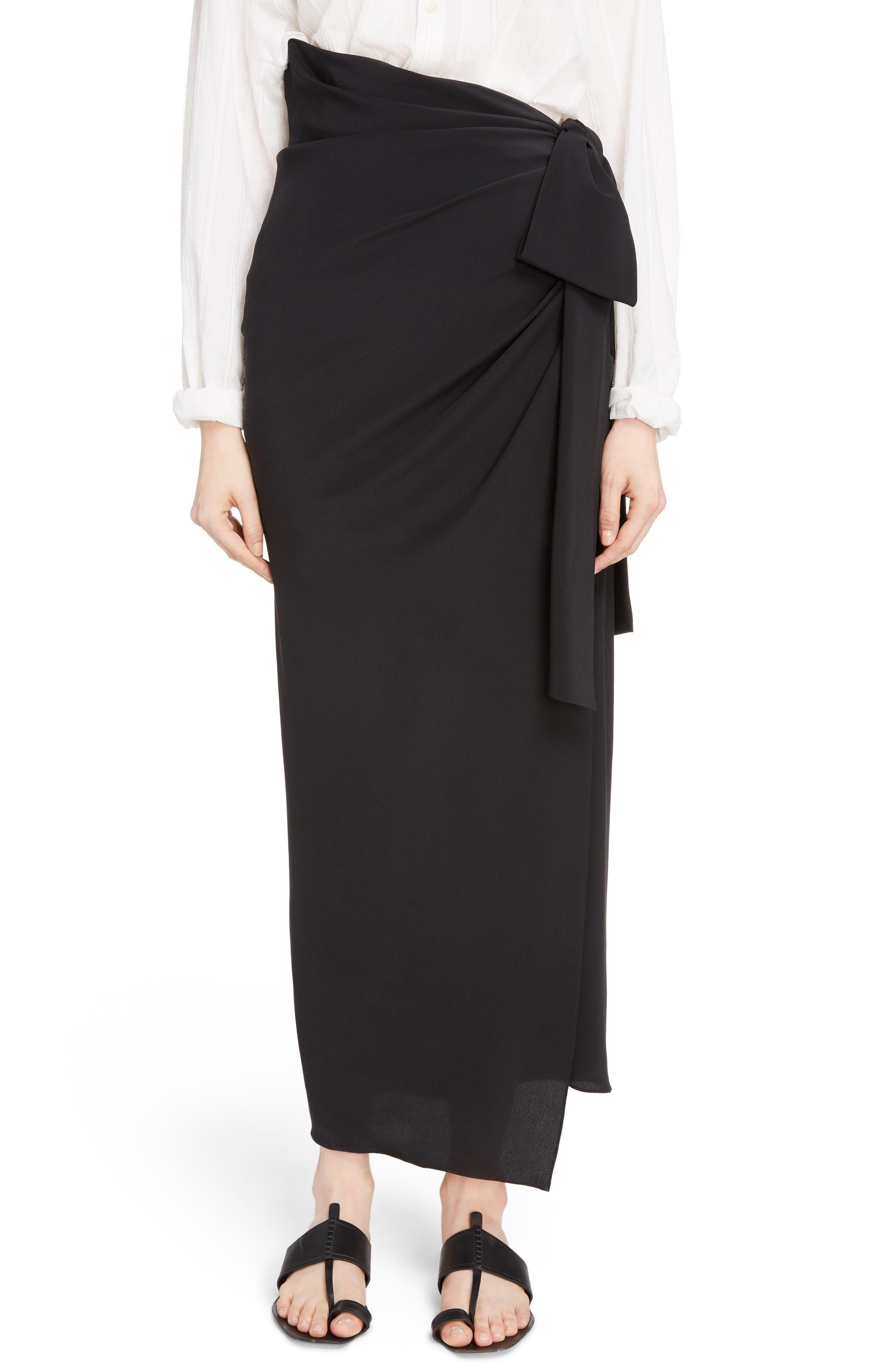 Side Tie Silk Crêpe de Chine Maxi Skirt,                             Main thumbnail 1, color,                             Noir