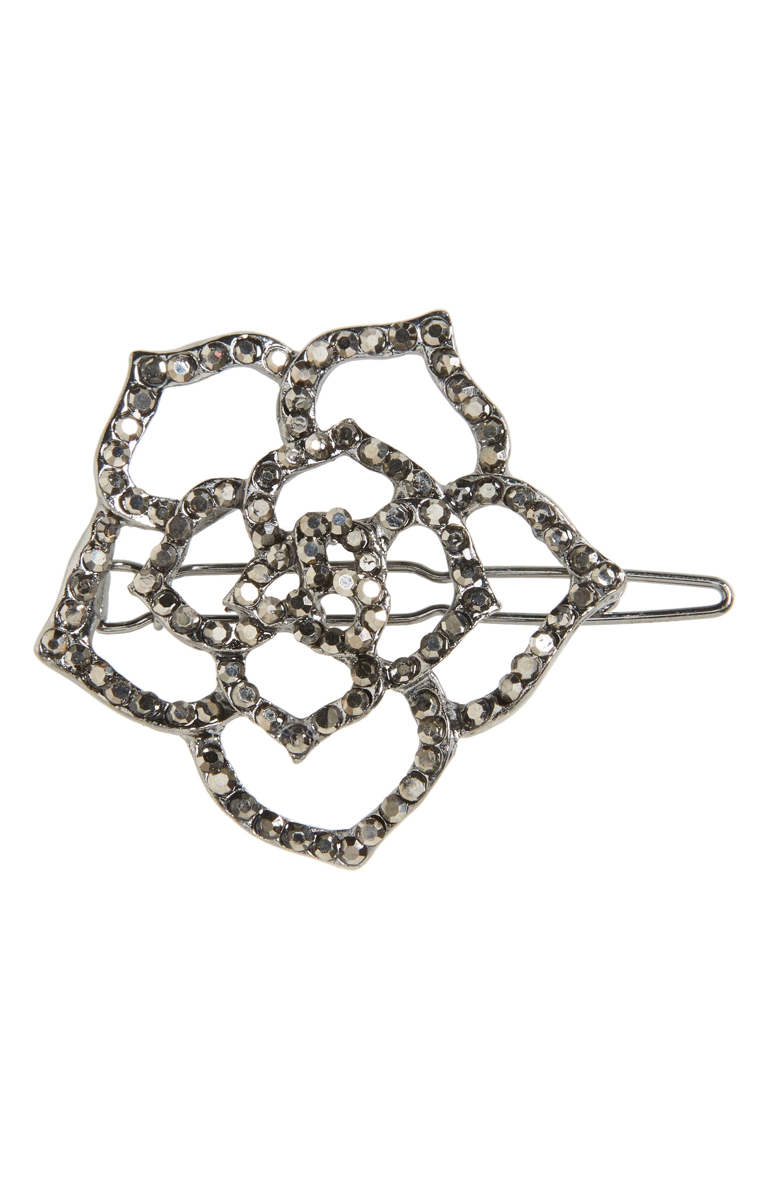 Main Image - Cara Small Crystal Rose Hair Clip