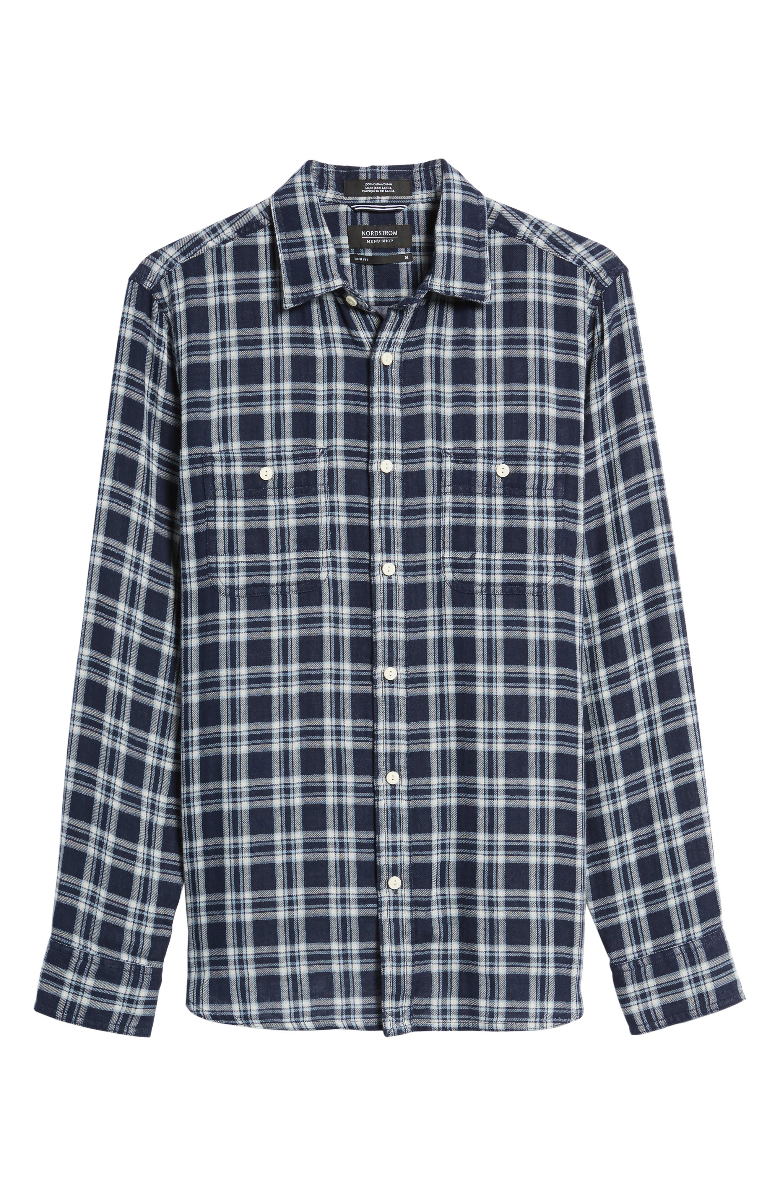 Trim Fit Workwear Duofold Check Sport Shirt,                             Alternate thumbnail 6, color,                             Navy White Chambray Duofold