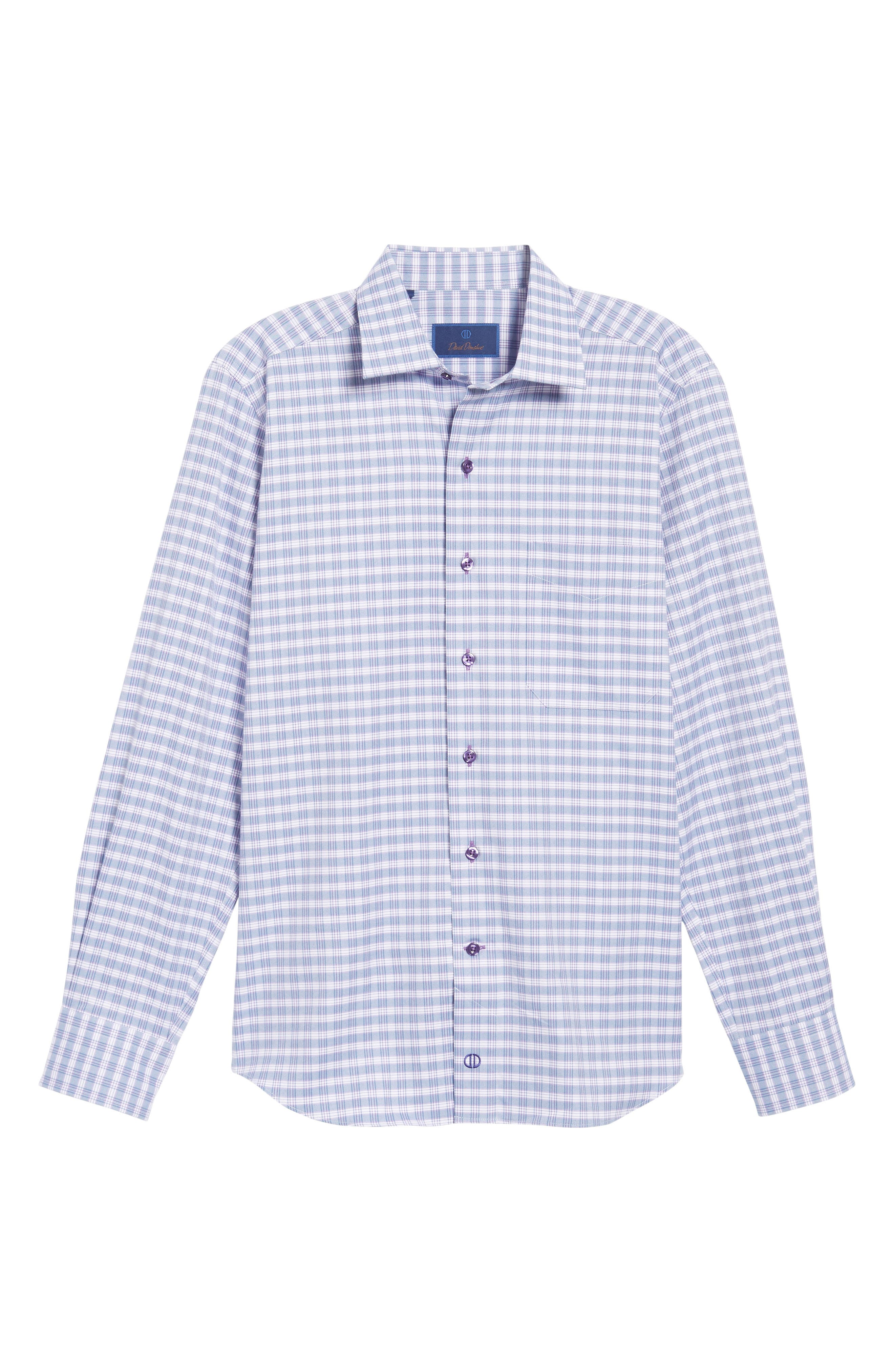 Check Regular Fit Sport Shirt,                             Alternate thumbnail 6, color,                             Blue/ Purple