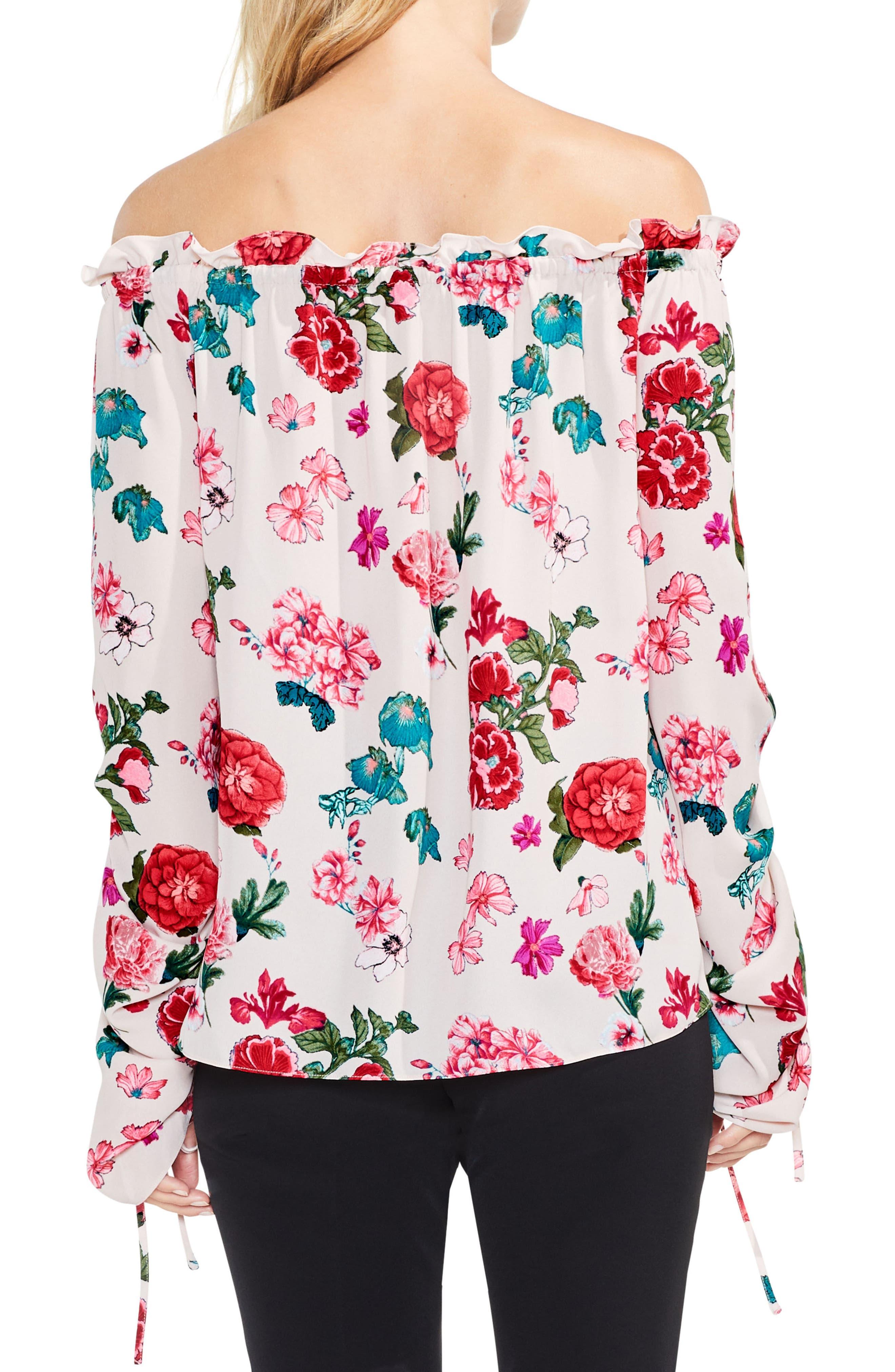 Off the Shoulder Floral Heirloom Top,                             Alternate thumbnail 2, color,                             Hush Pink