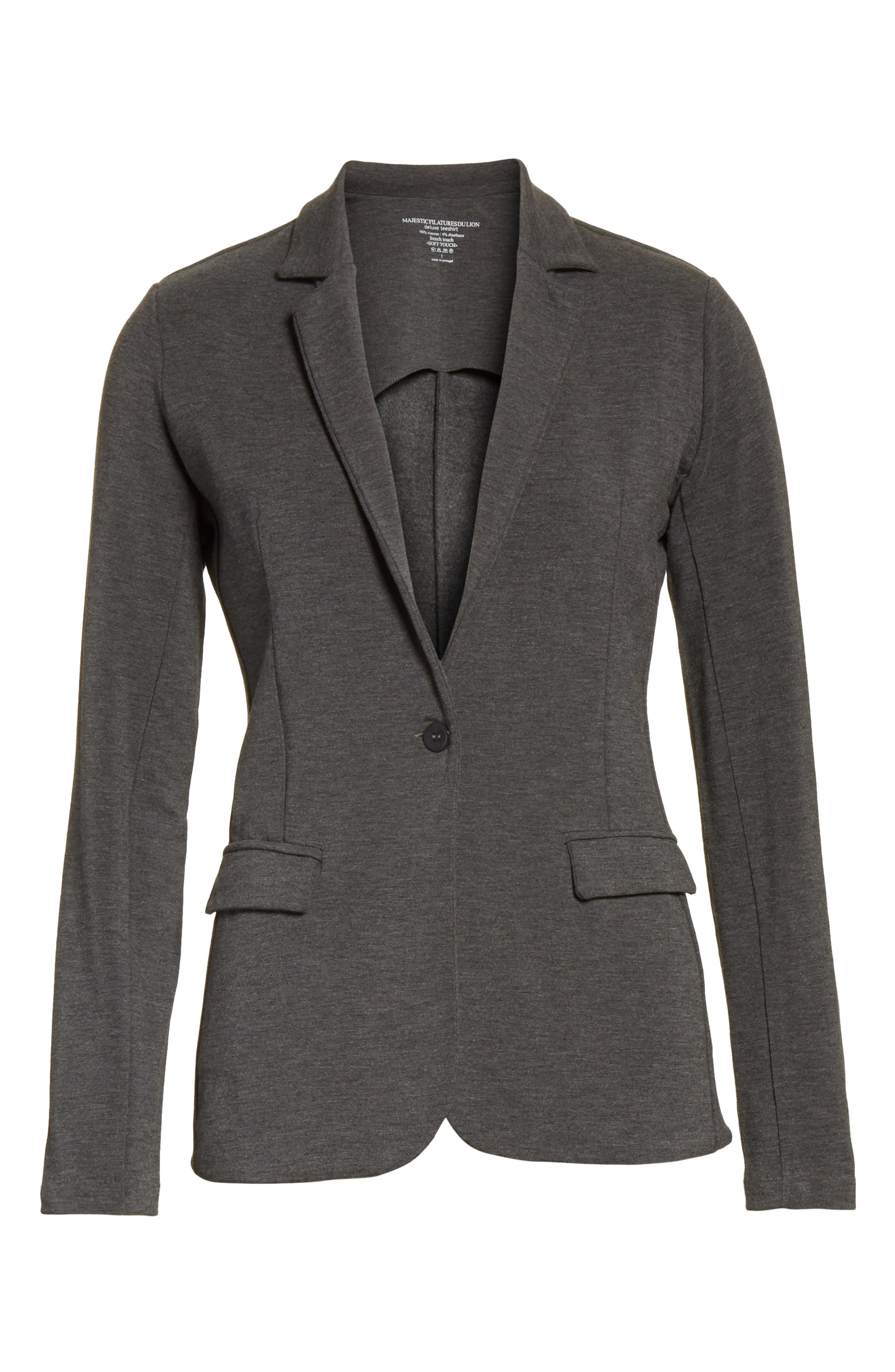 French Terry Blazer,                             Alternate thumbnail 6, color,                             Flanelle