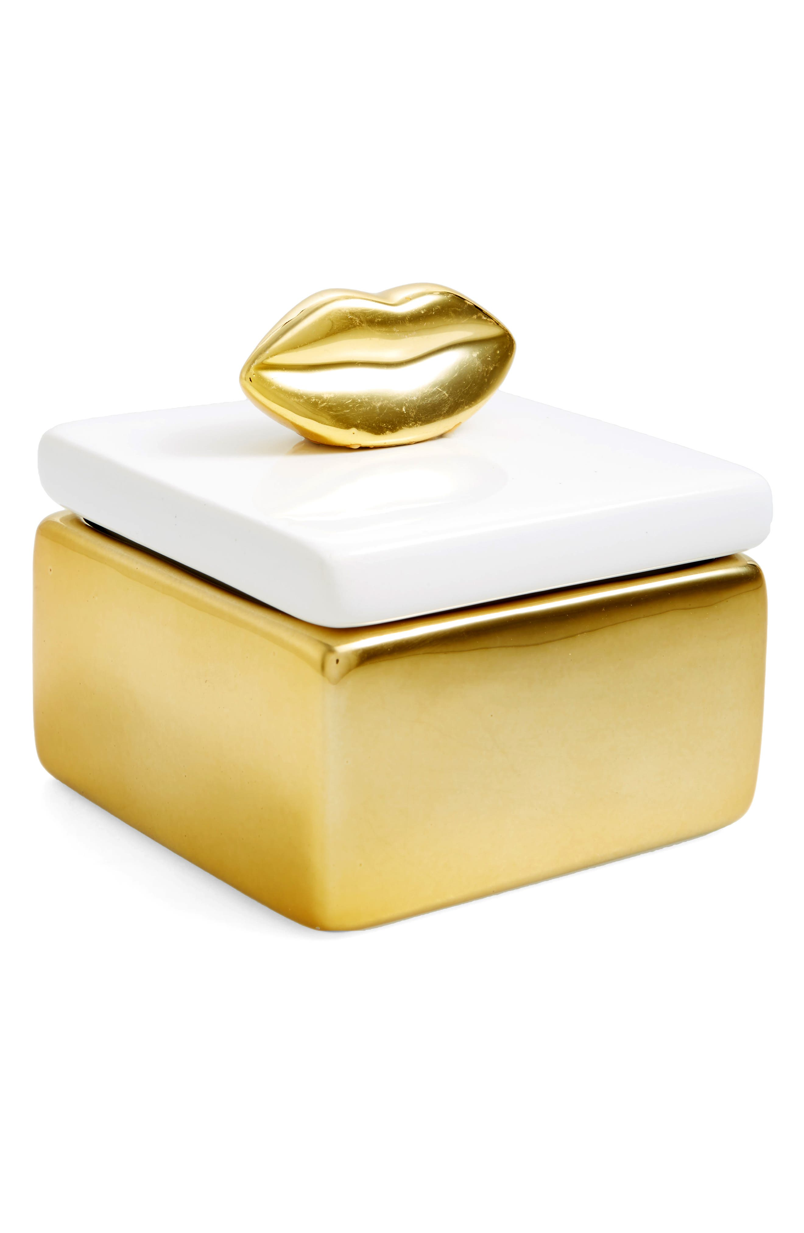 Lips Trinket Box,                         Main,                         color, Gold