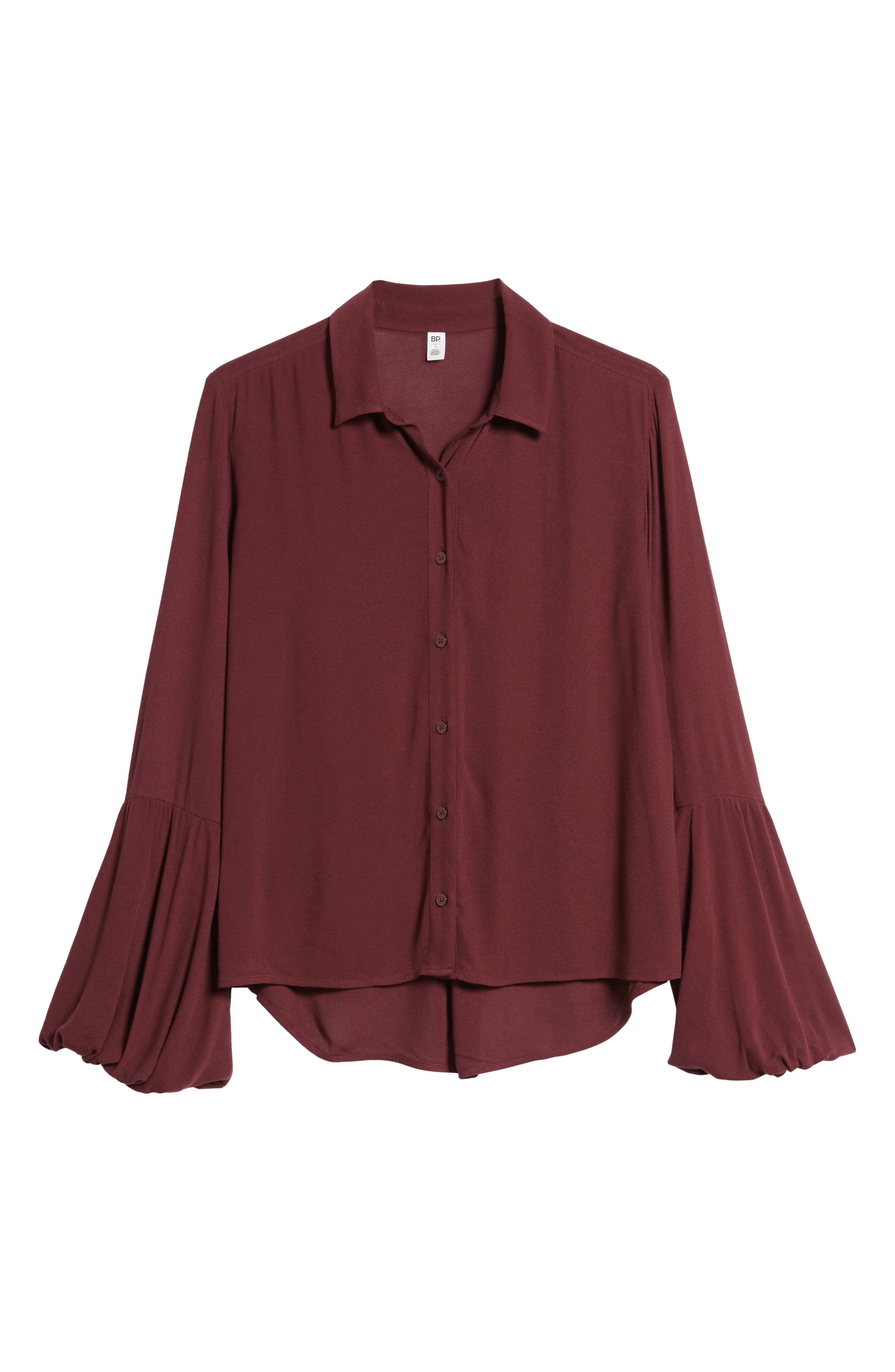 Balloon Sleeve Top,                             Alternate thumbnail 6, color,                             Burgundy Royale