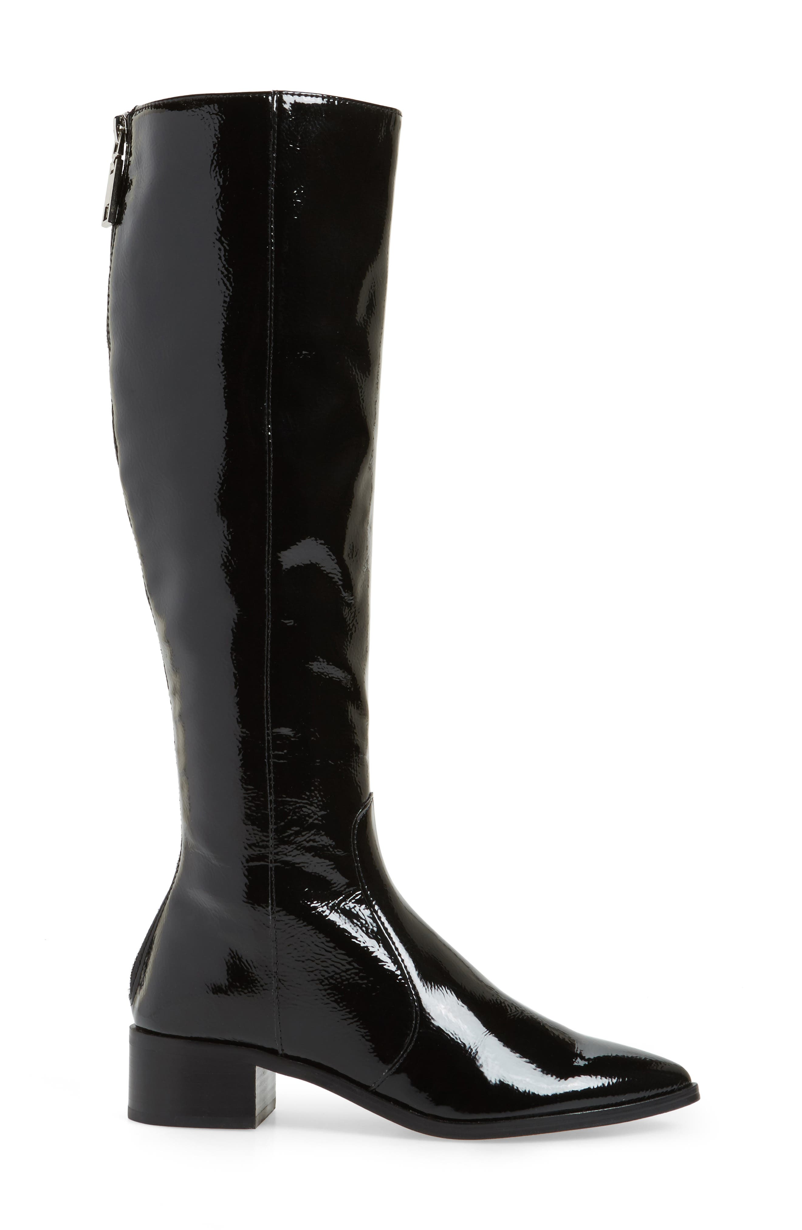 Morey Knee High Riding Boot,                             Alternate thumbnail 3, color,                             Onyx Patent