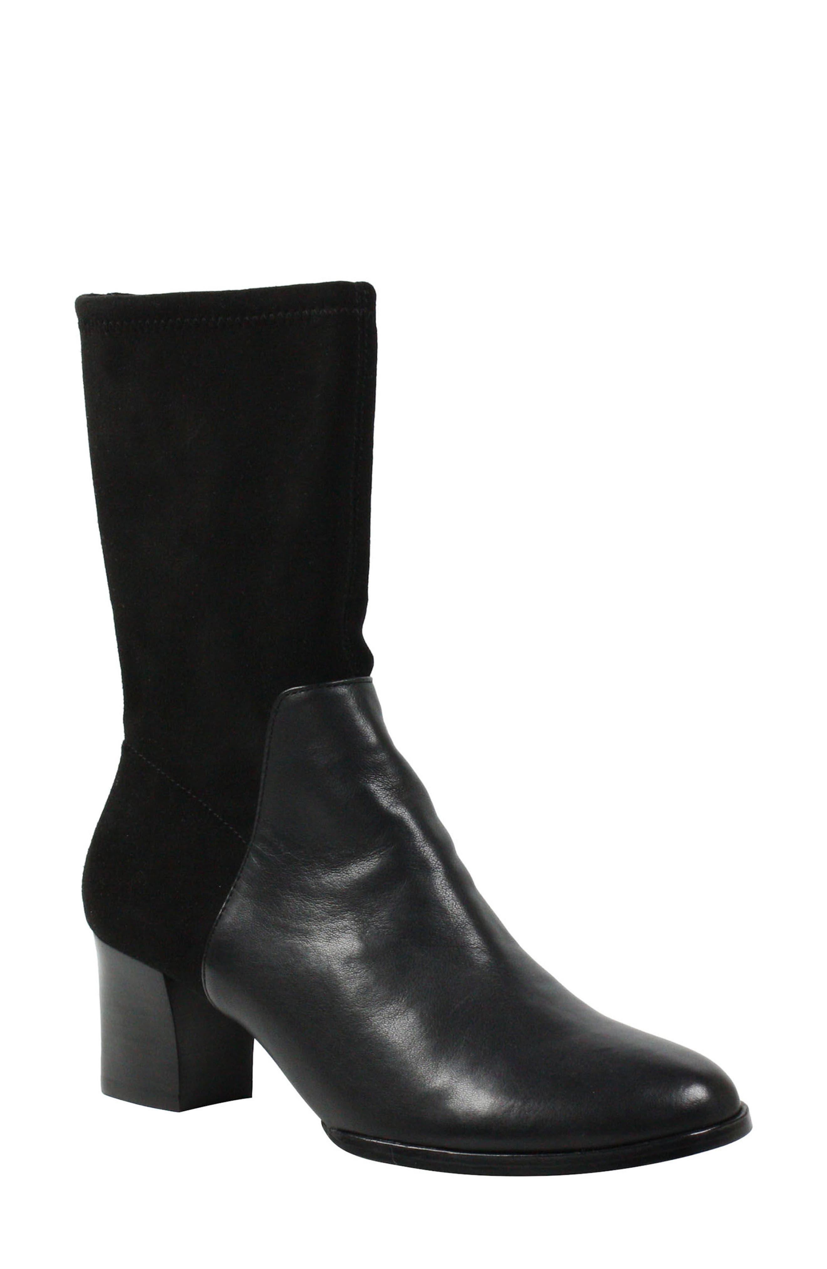 Pasublo Bootie,                         Main,                         color, Black Leather
