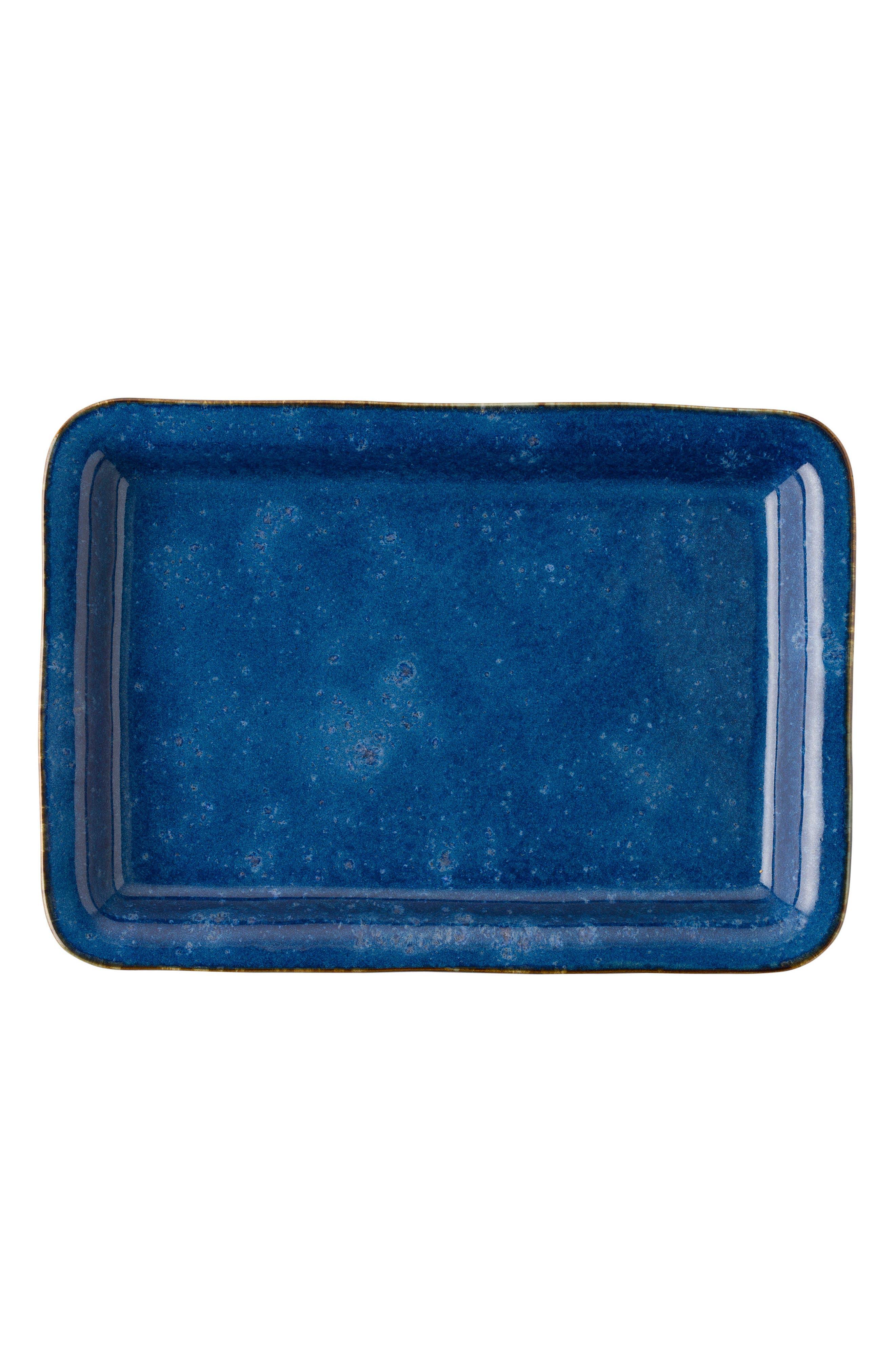 Puro Rectangular Ceramic Serving Tray,                             Alternate thumbnail 2, color,                             Dappled Cobalt