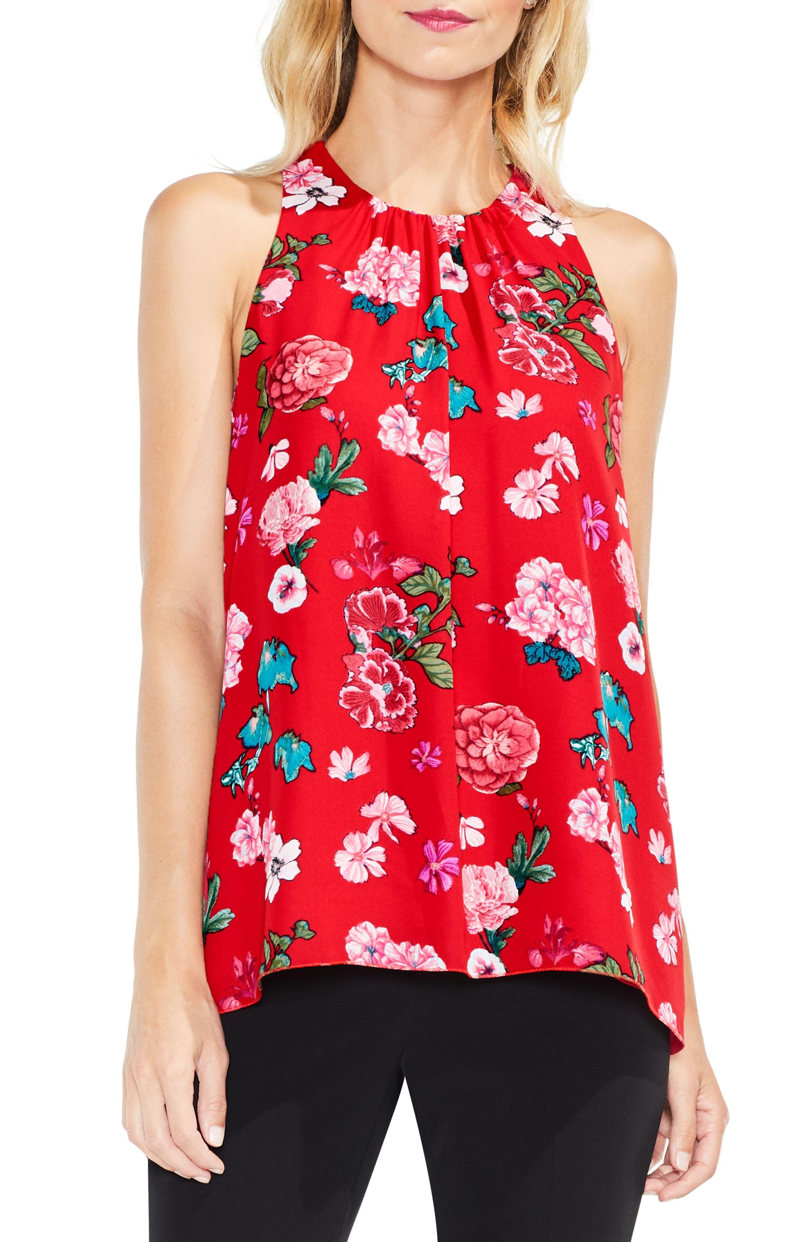 Floral Heirlooms Sleeveless Blouse,                         Main,                         color, True Crimson
