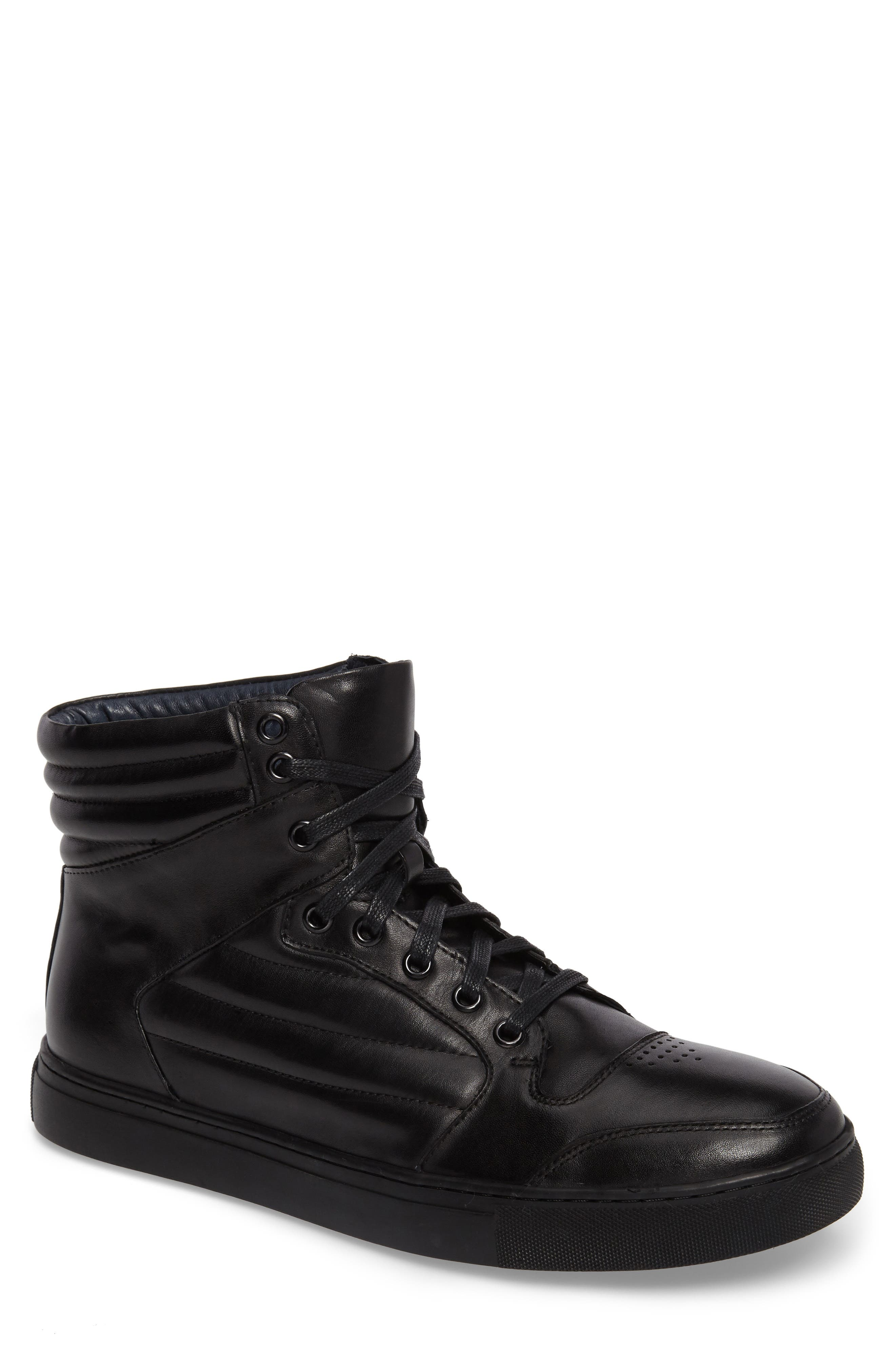Vacdes High Top Sneaker,                         Main,                         color, Black Leather