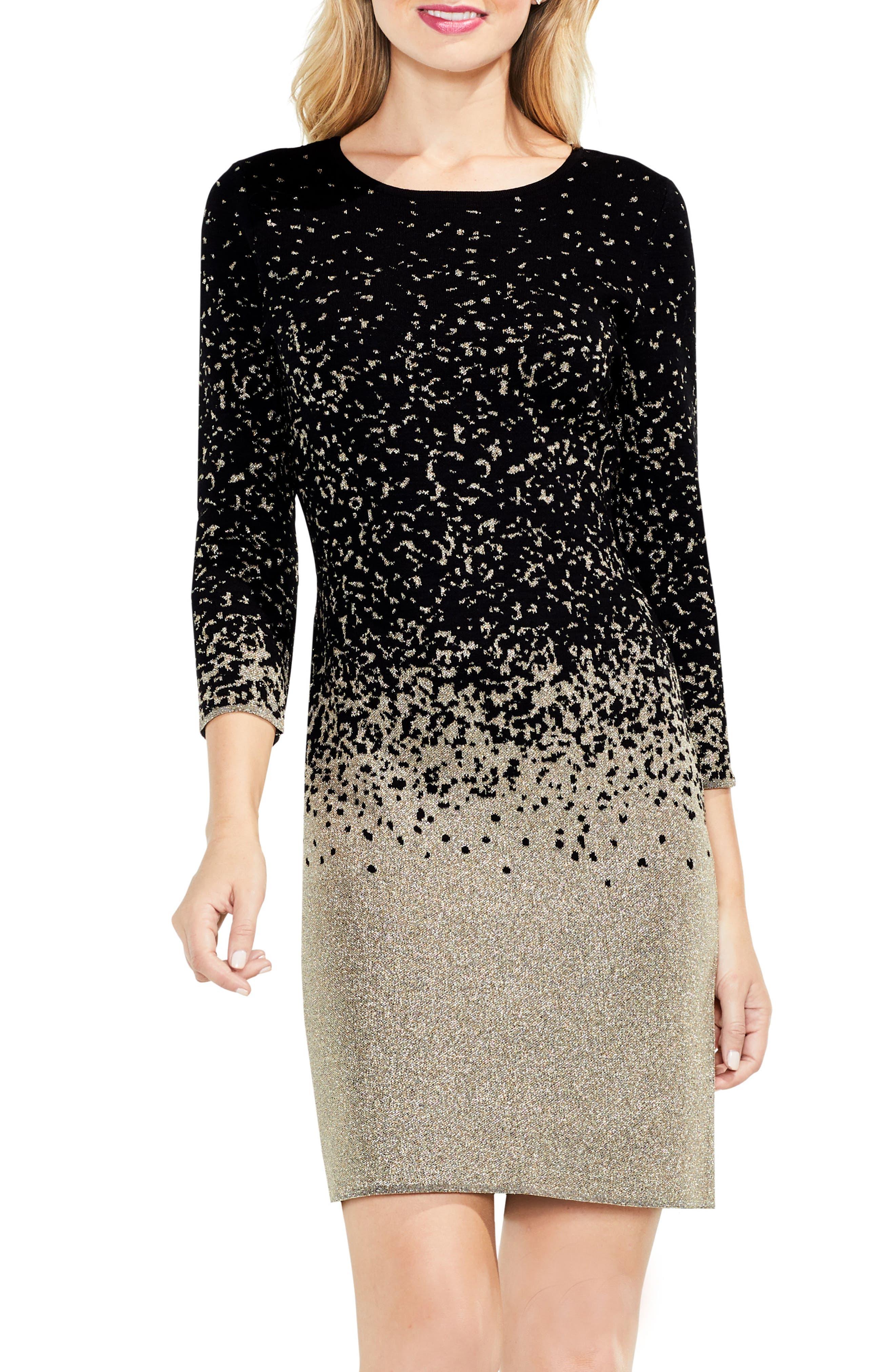 Metallic Ombrè Sweater Dress,                         Main,                         color, Rich Black