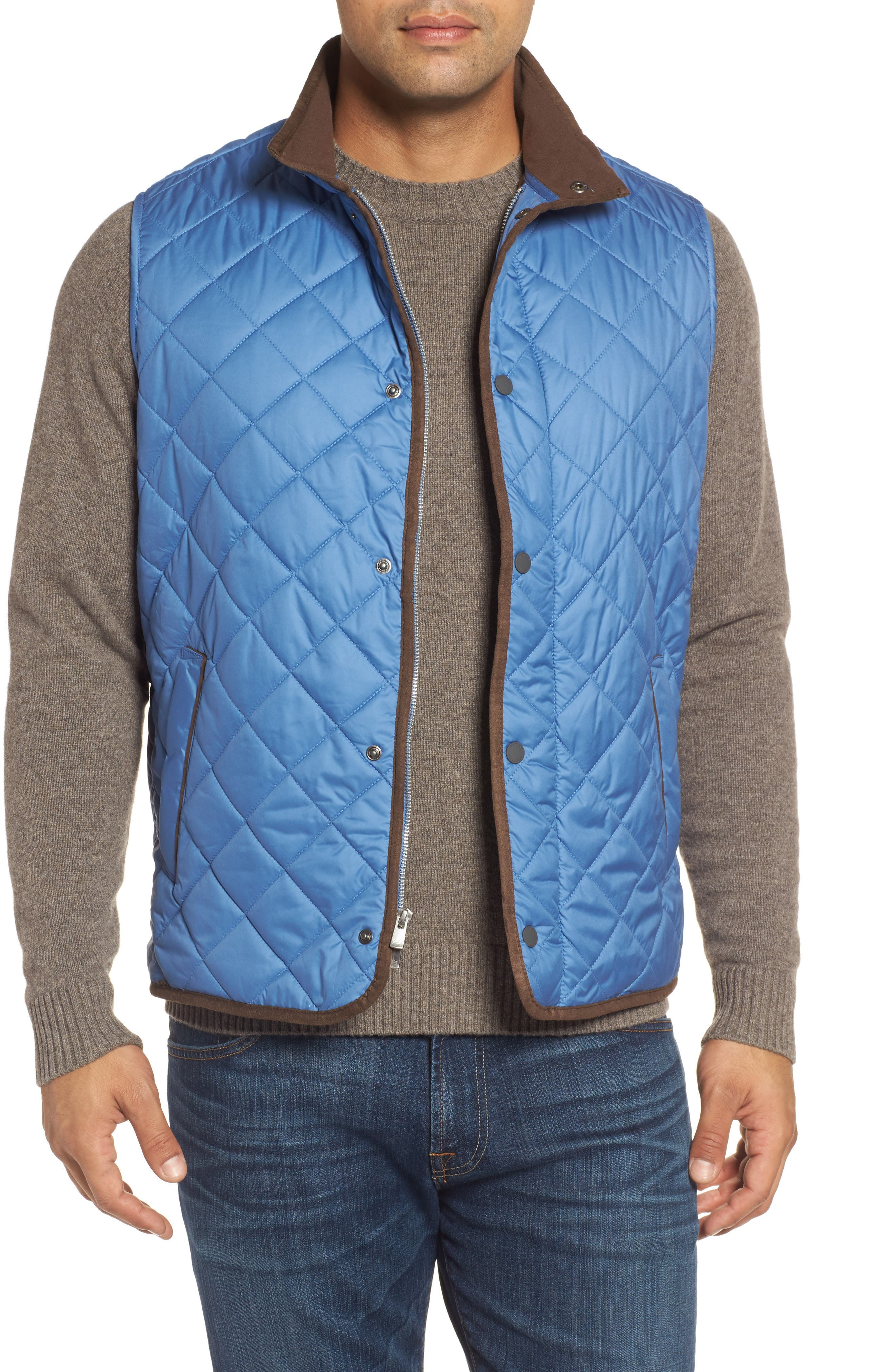 Essex Quilted Vest,                         Main,                         color, Moon Blue