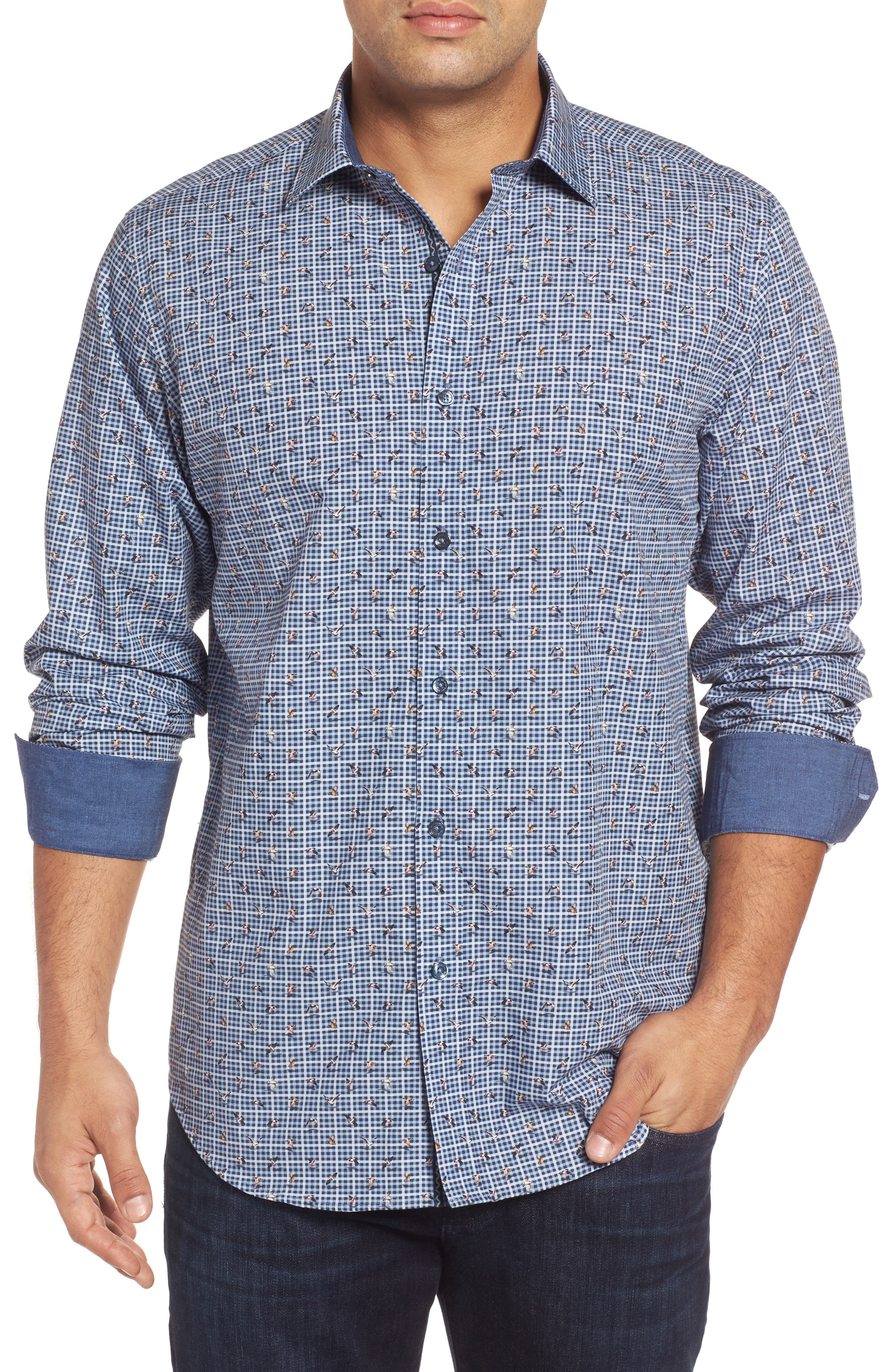 Classic Fit Bird Print Sport Shirt,                         Main,                         color, Navy