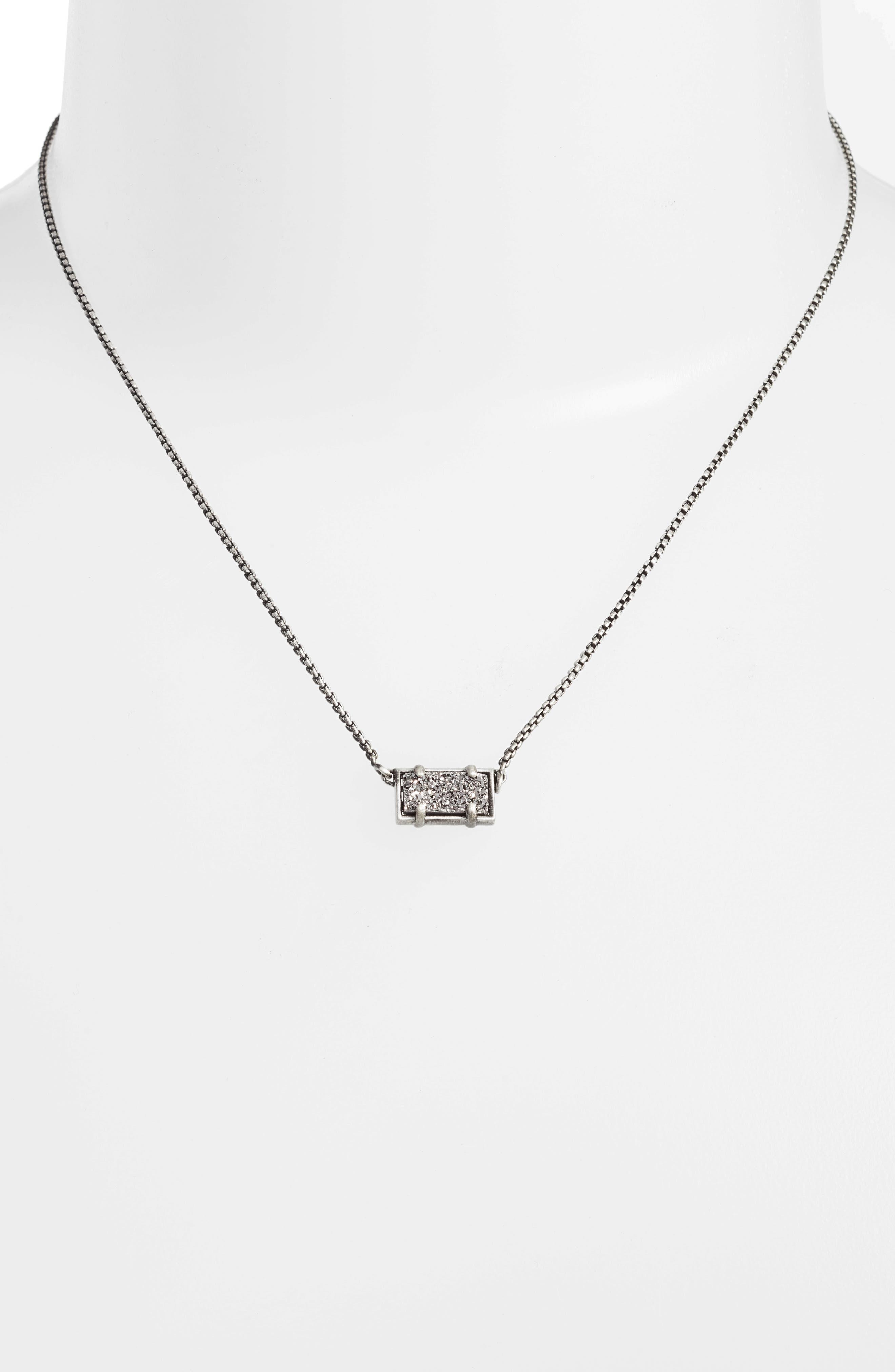 Pattie Pendant Necklace,                             Alternate thumbnail 2, color,                             Platinum Drusy/ Antique Silver