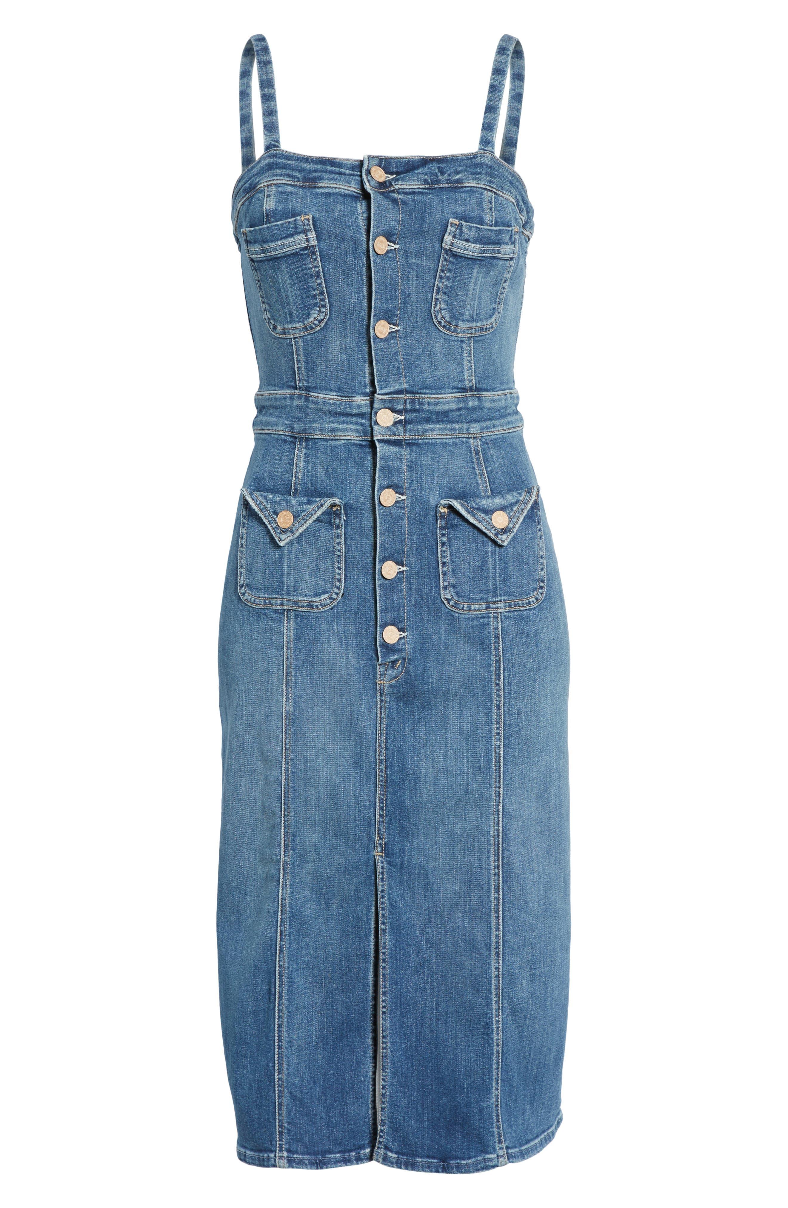 Alternate Image 6  - MOTHER To the Point Denim Midi Dress